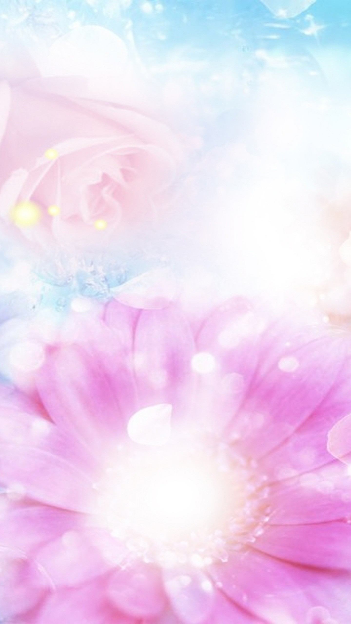 1440x2560  Wallpaper pink, blue, flowers, blurred, background, effects