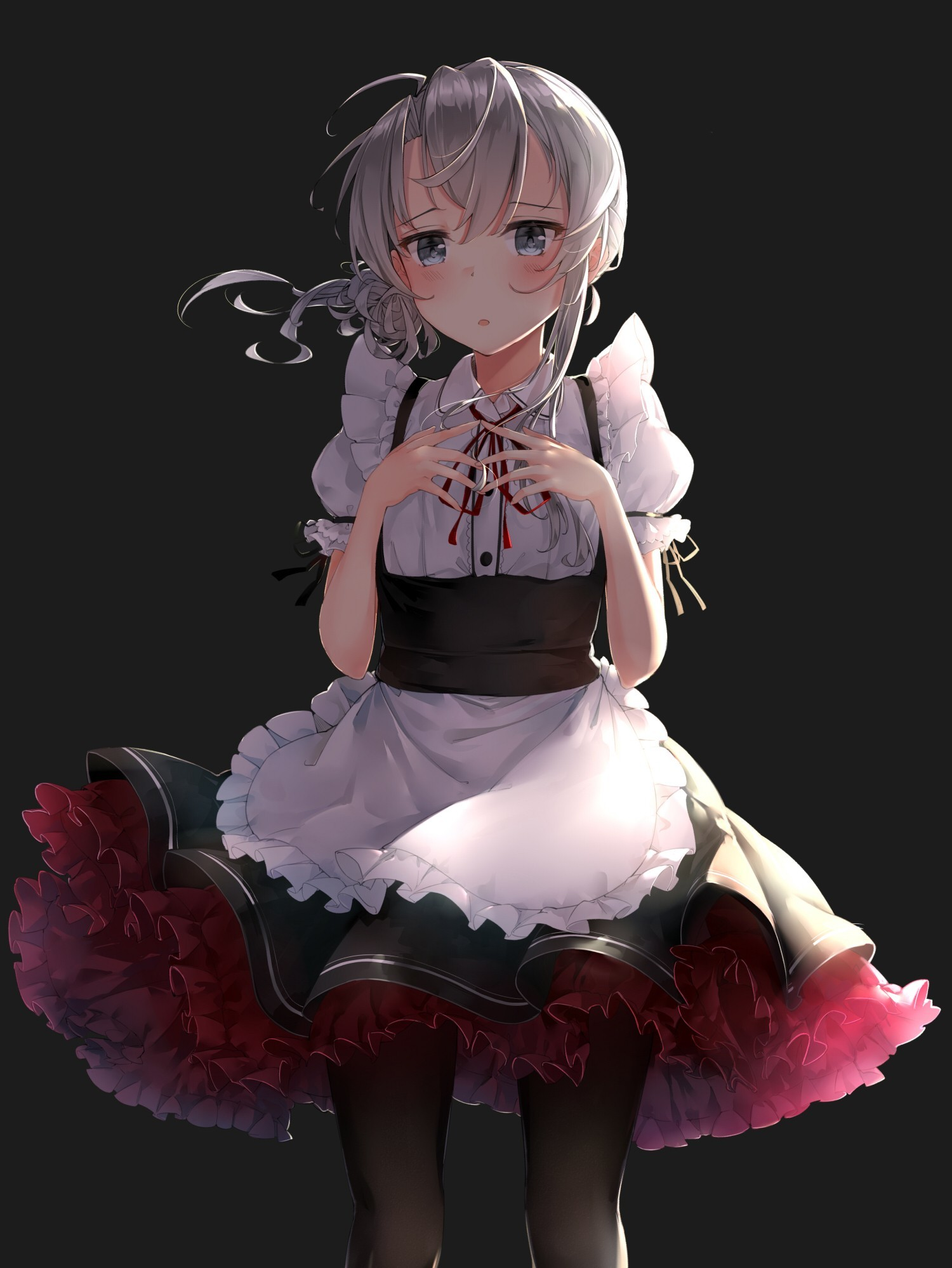 1500x1998 Anime  anime anime girls short hair gray hair maid blue eyes