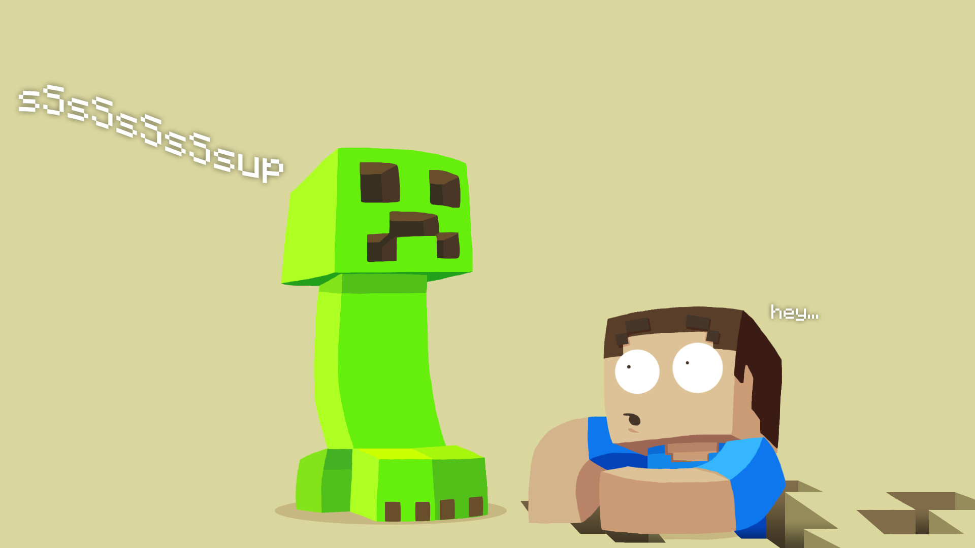 1920x1080 Flat Minecraft Wallpaper with a Creeper and Steve