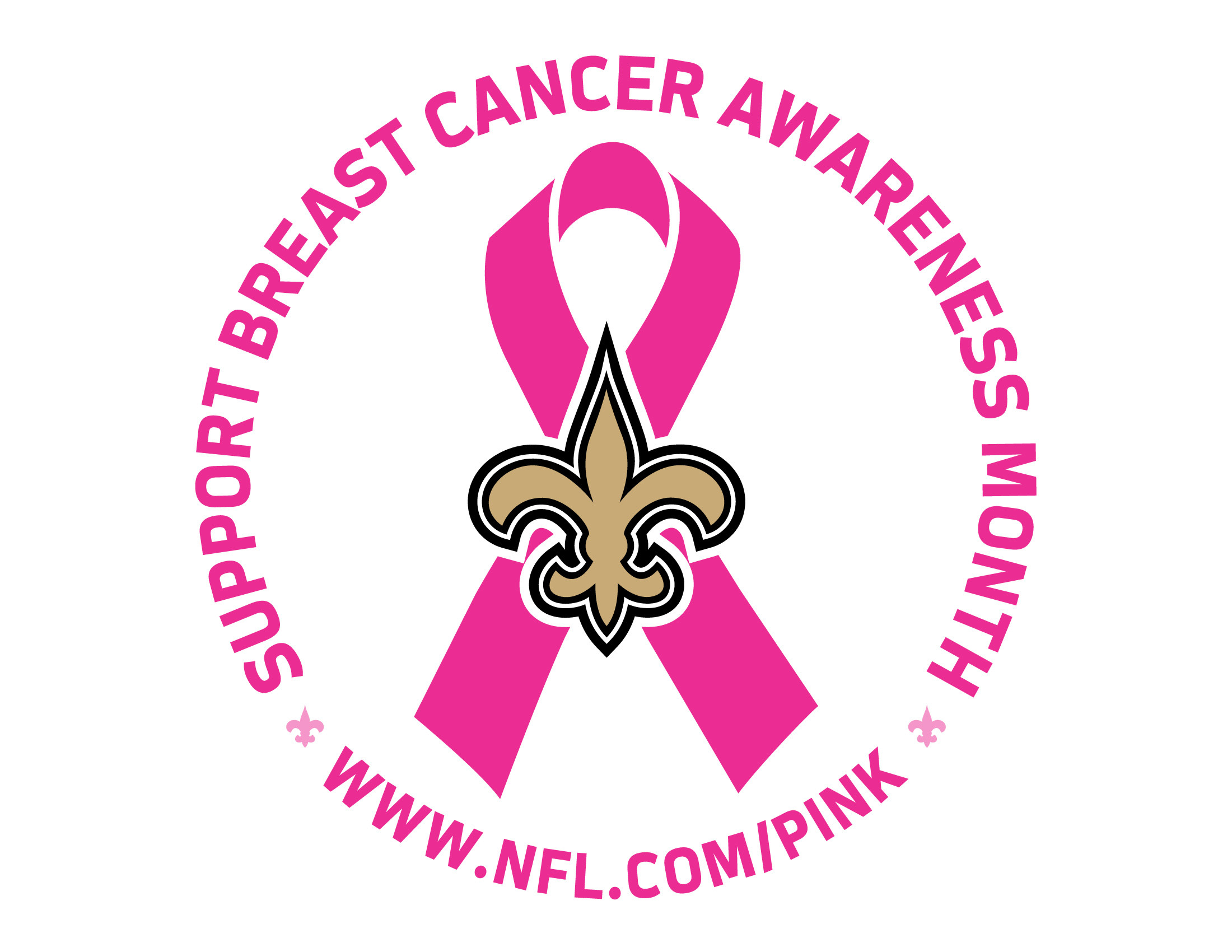 2200x1700 breast cancer awareness month logo | Saints Breast Cancer Awareness Logo