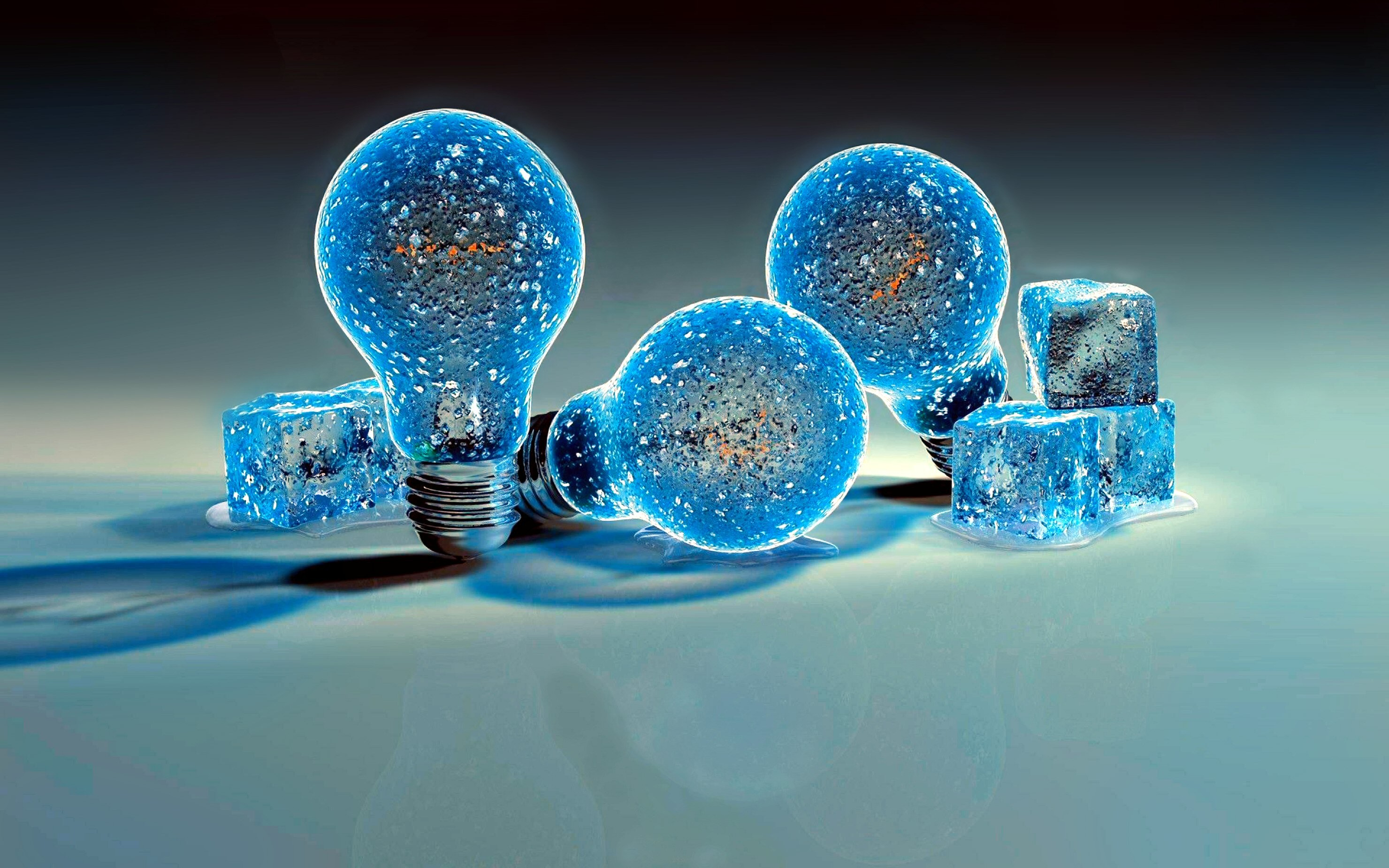 2960x1850 Man Made - Light Bulb Fantasy Blue Magical Ice Reflection Bulb Wallpaper