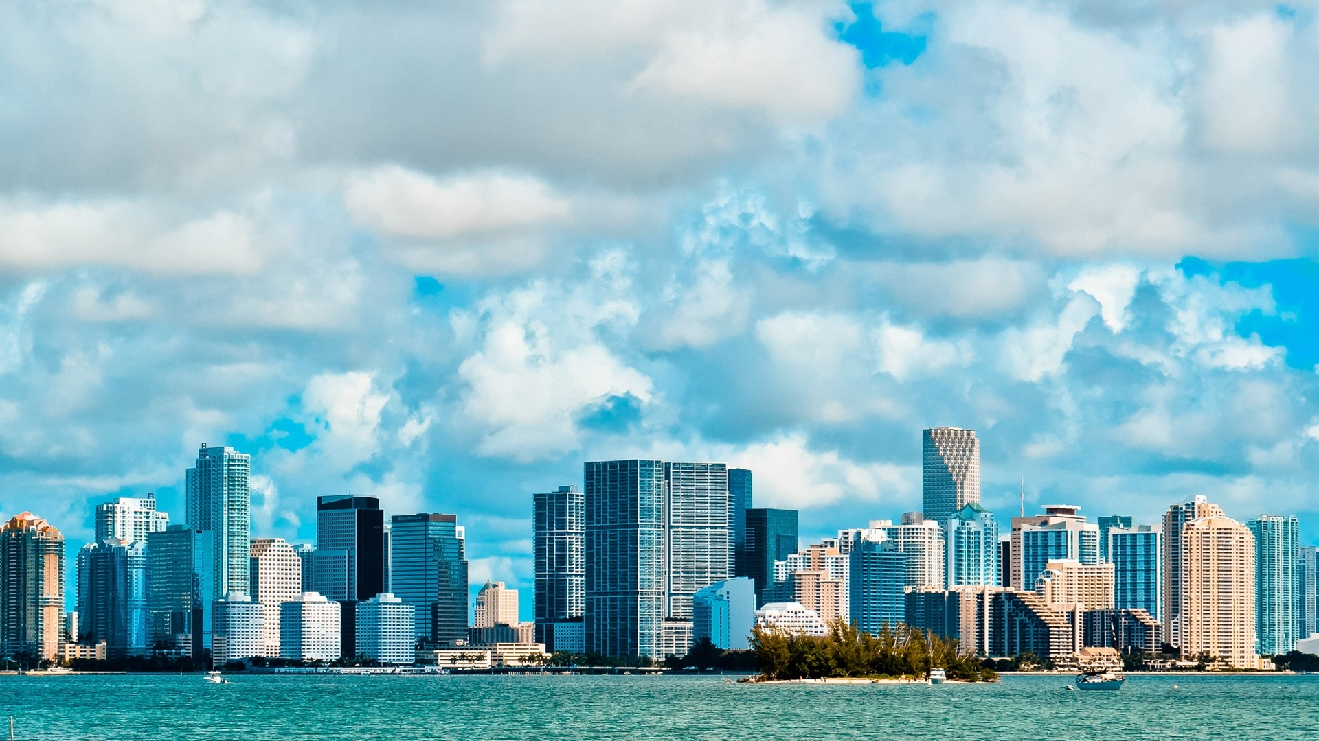 1920x1080 Wallpaper miami business center overcast ocean side view