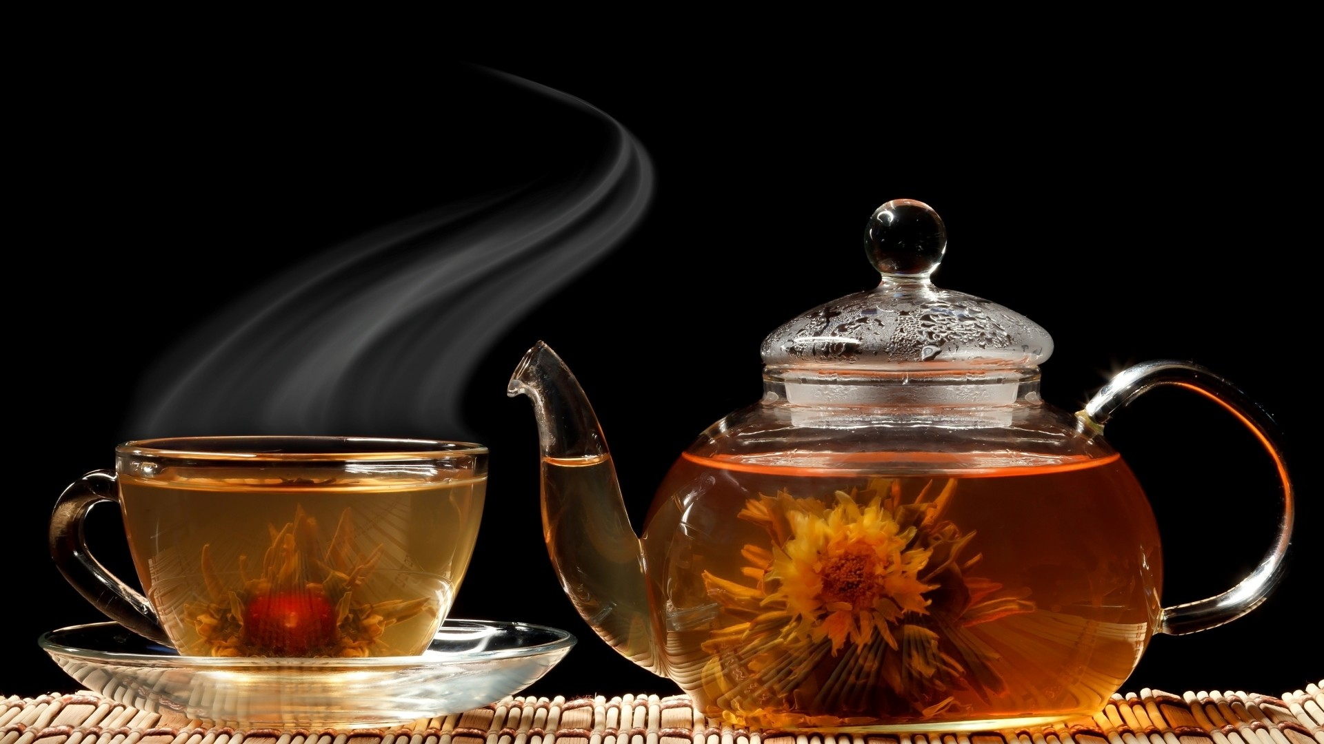 1920x1080  Wallpaper tea, cup, teapot, flowers, aroma