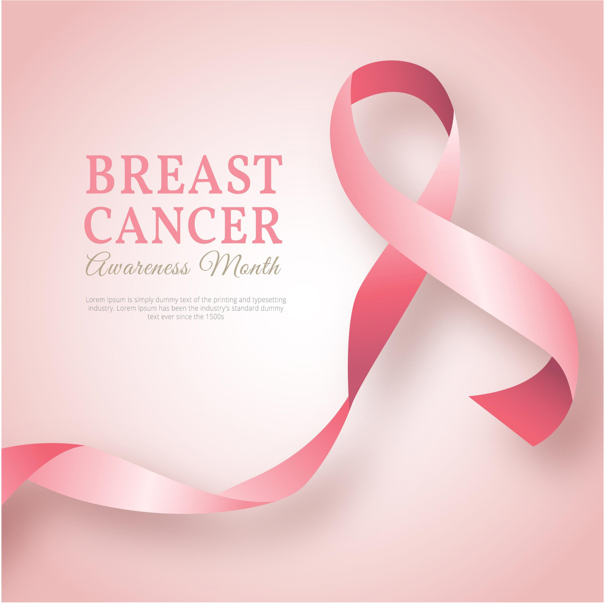2000x2000 Pink ribbon background of breast cancer