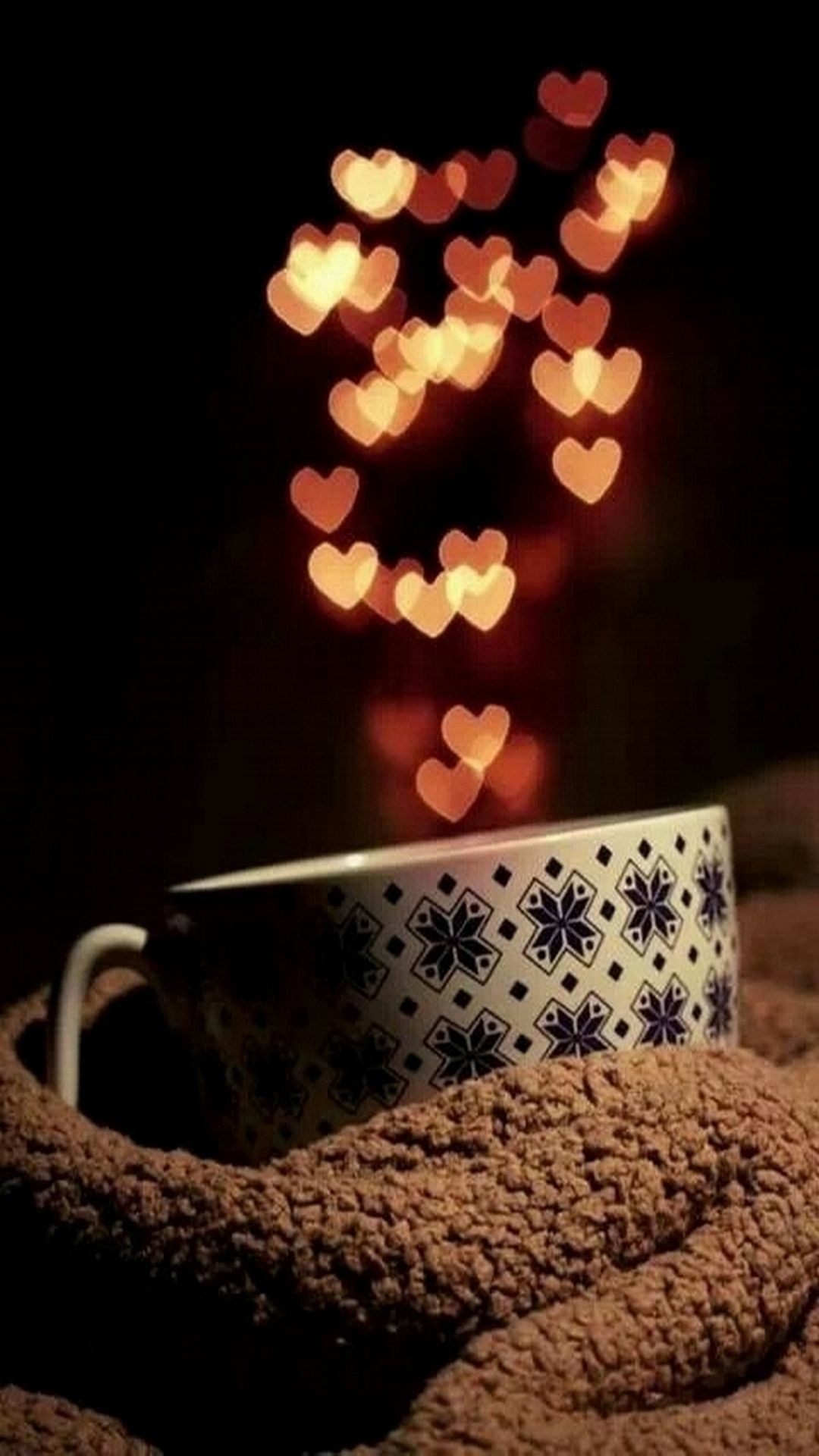 1080x1920 Cute cup and heart bokeh