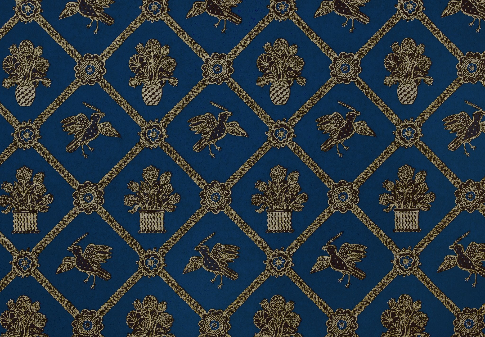 2048x1422 Rope Trellis Wallpaper - Royal Blue / Black / Gold Metallic
