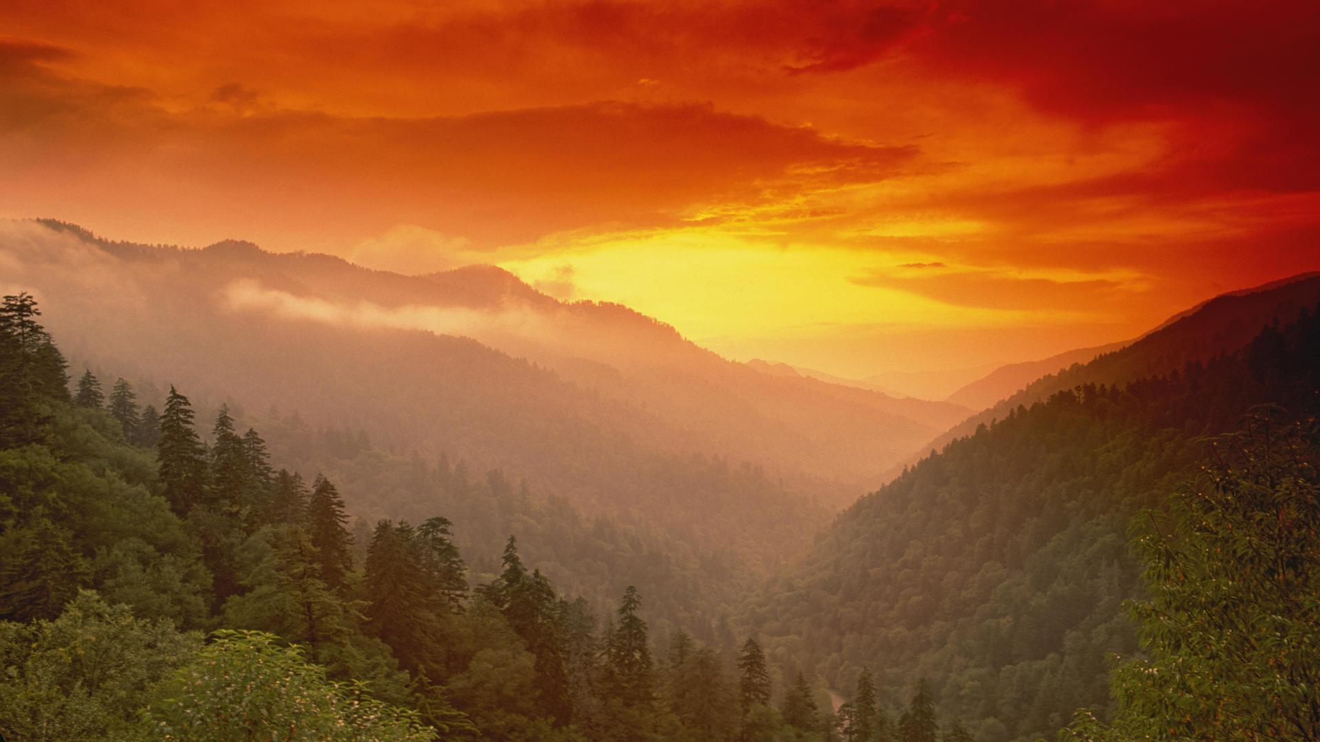 1920x1080 and Wallpaper Sunset From Morton Overlook Great Smoky Mountains