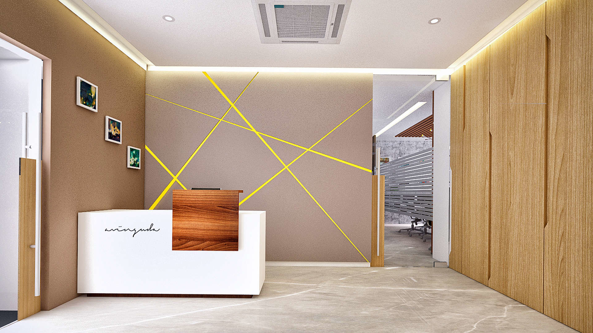1920x1080 3D Office Reception Interior Design ...