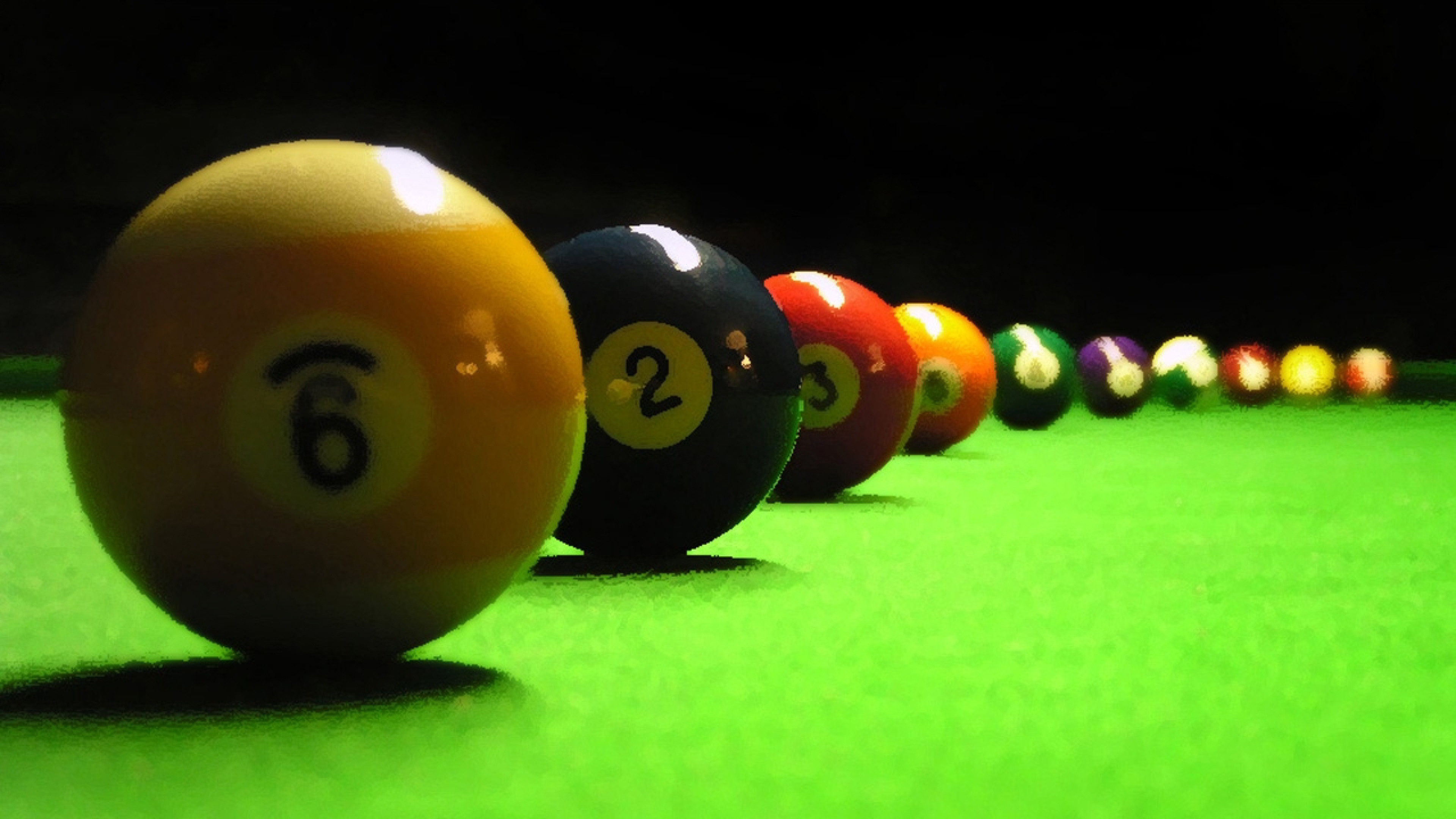 3840x2160  Wallpaper billiards, table, spheres, number, cloth, pool