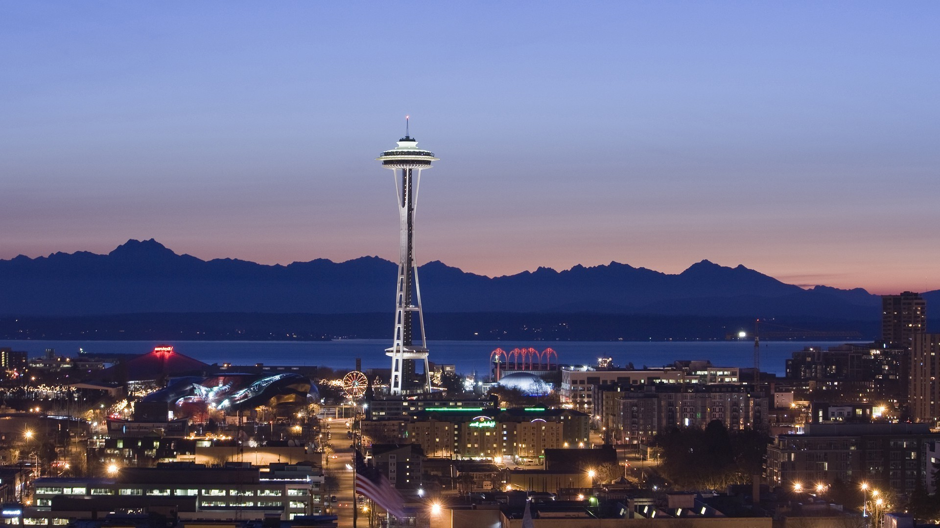 1920x1080 Seattle, Space Needle, Pacific Northwest, USA, Washington State, City,  Sunset, Lights, Evening Wallpapers HD / Desktop and Mobile Backgrounds
