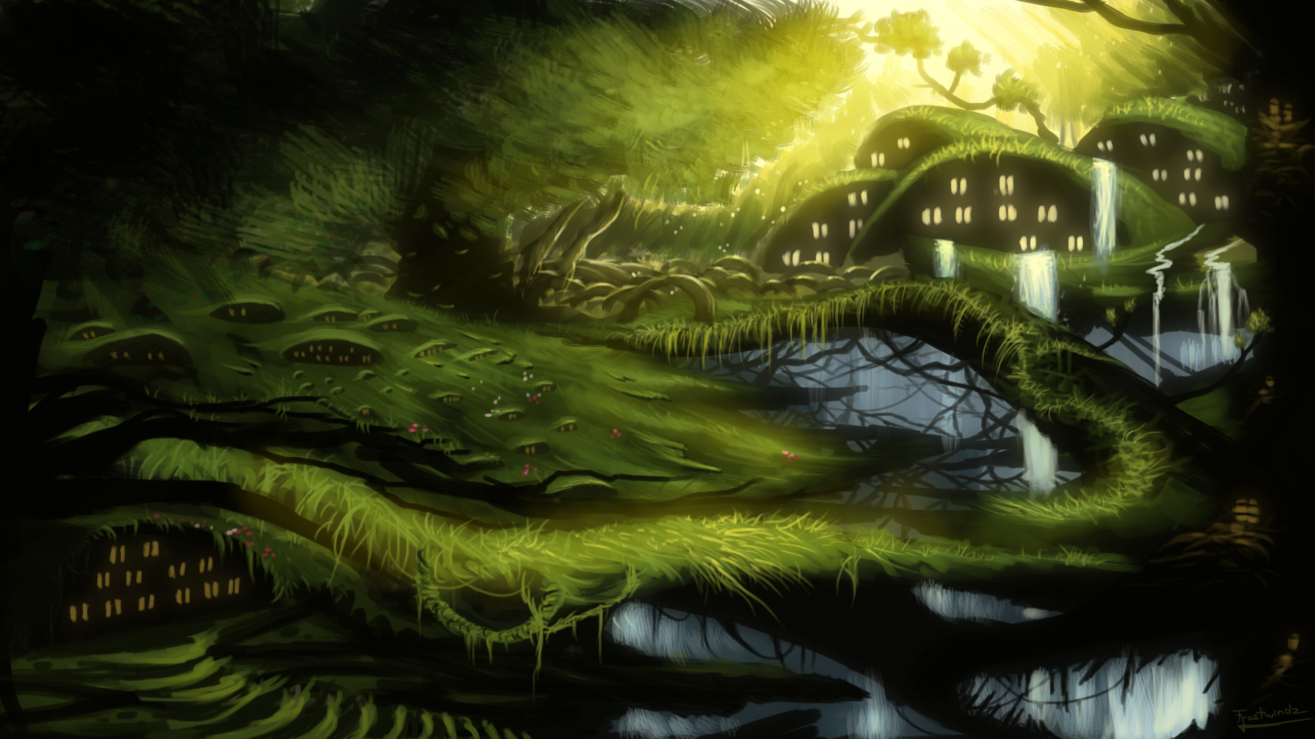 1920x1080 Fantasy Forest Landscape Wallpaper ...