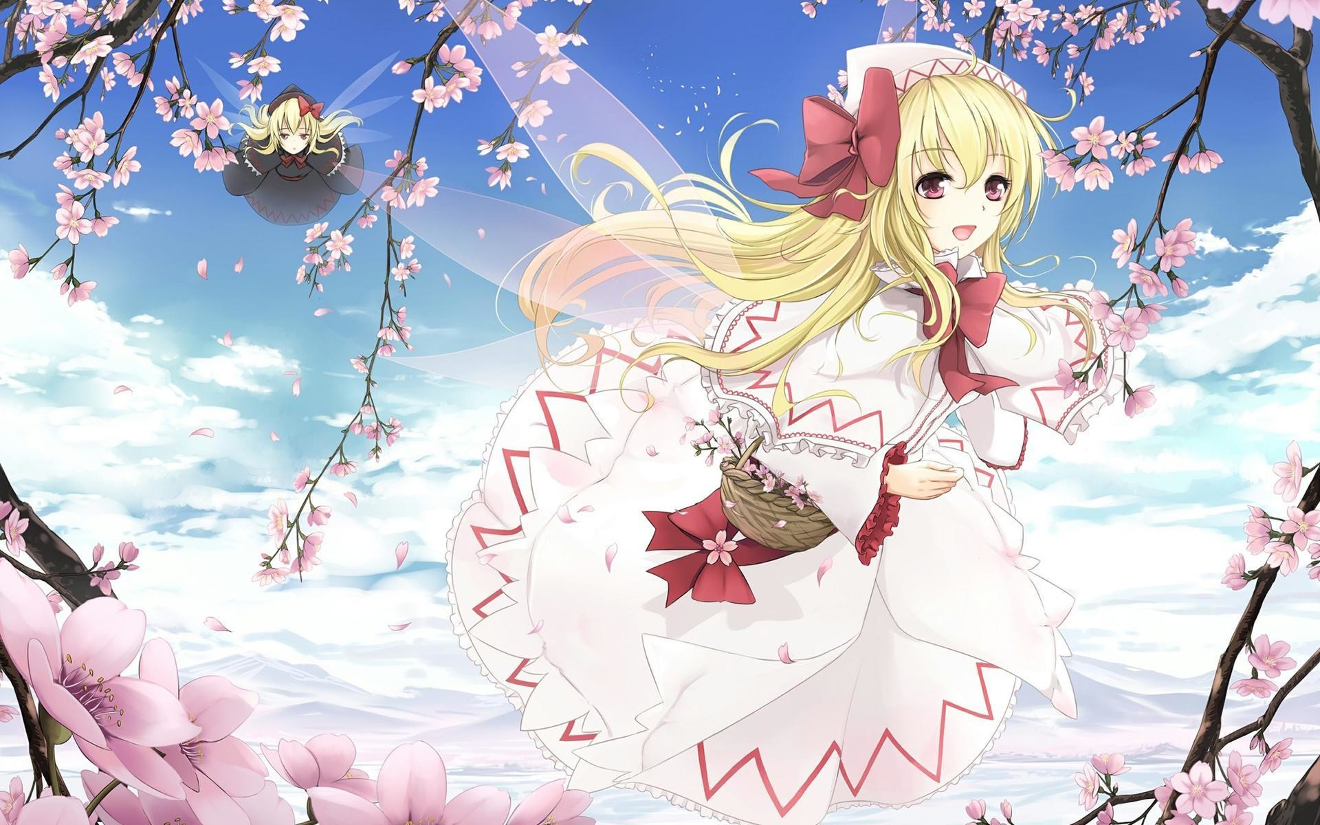1920x1200 Anime girl, Japanese anime, ACG, The second element, Spring, Peach, Flower  Fairy, Cute, Sweet