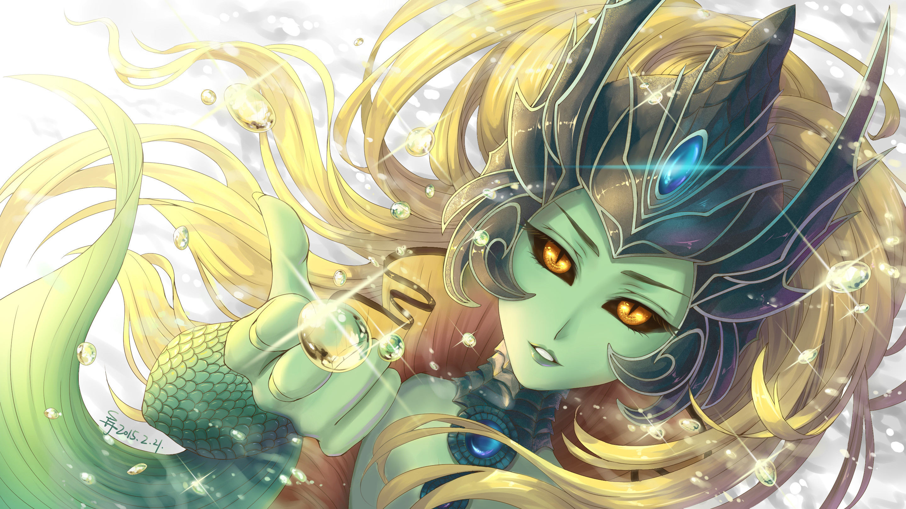 2880x1620 Nami by Suiiii HD Wallpaper Background Fan Art Artwork League of Legends lol