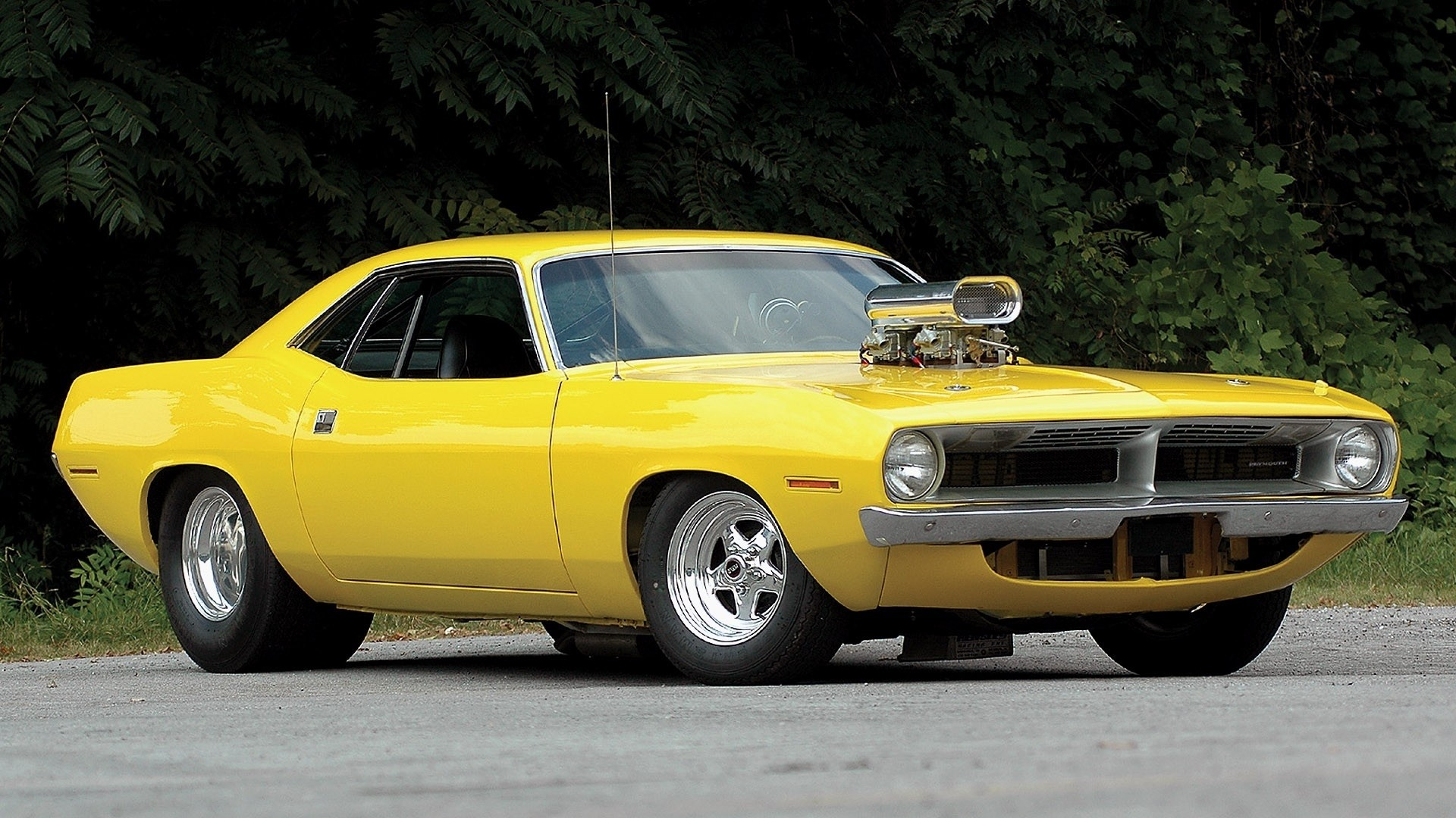 1920x1080 yellow Muscle Car | Plymouth barracuda hot rod tuning yellow classic muscle  car wallpaper .