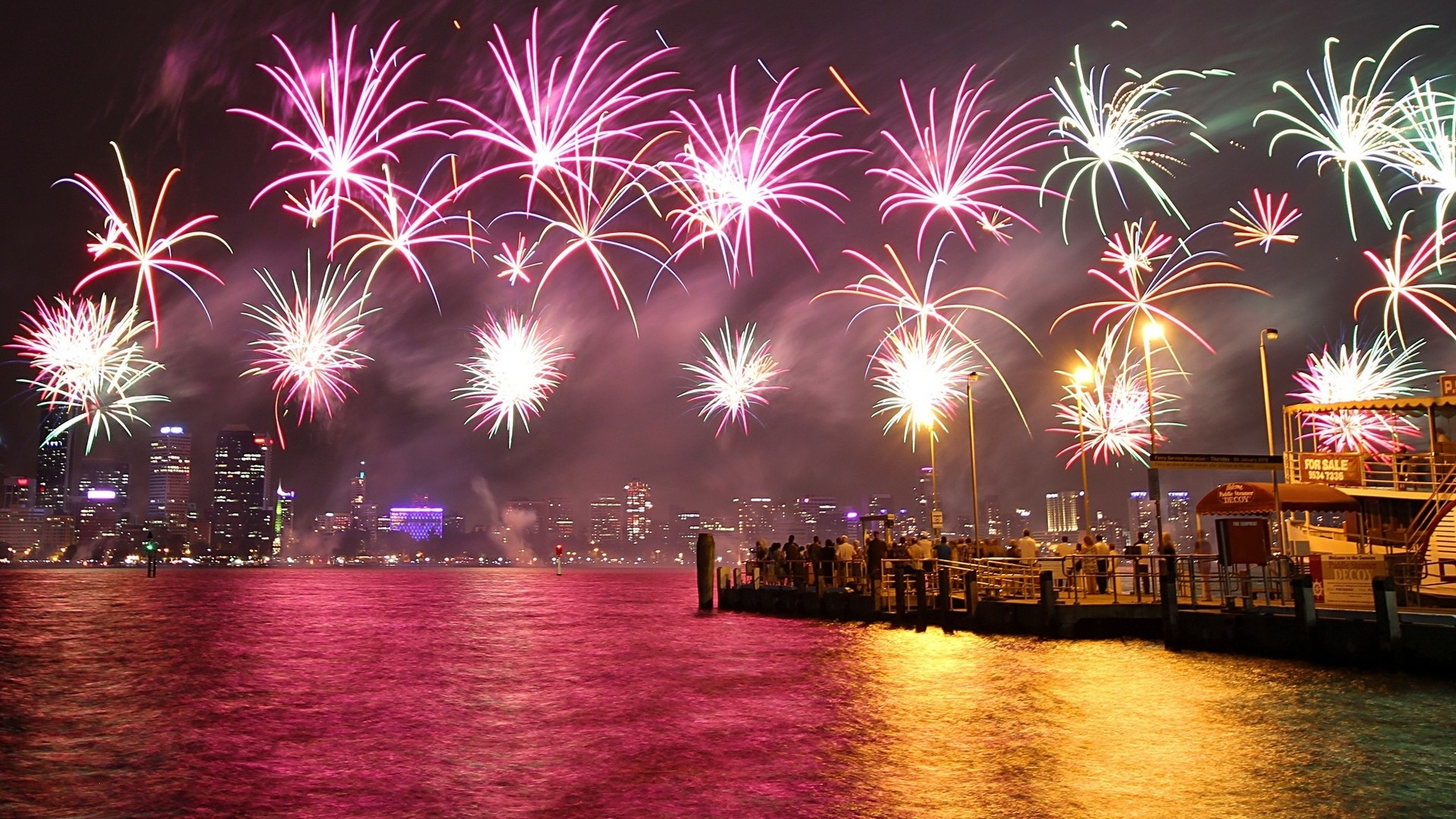 1920x1080 New Year 4th fourth july holidays fireworks color sparkle bright light .