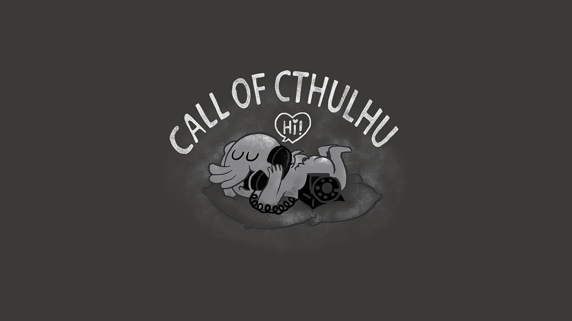 1920x1080 Humor - Fantasy Cthulhu Telephone Phone Black & White Call Humor Wallpaper