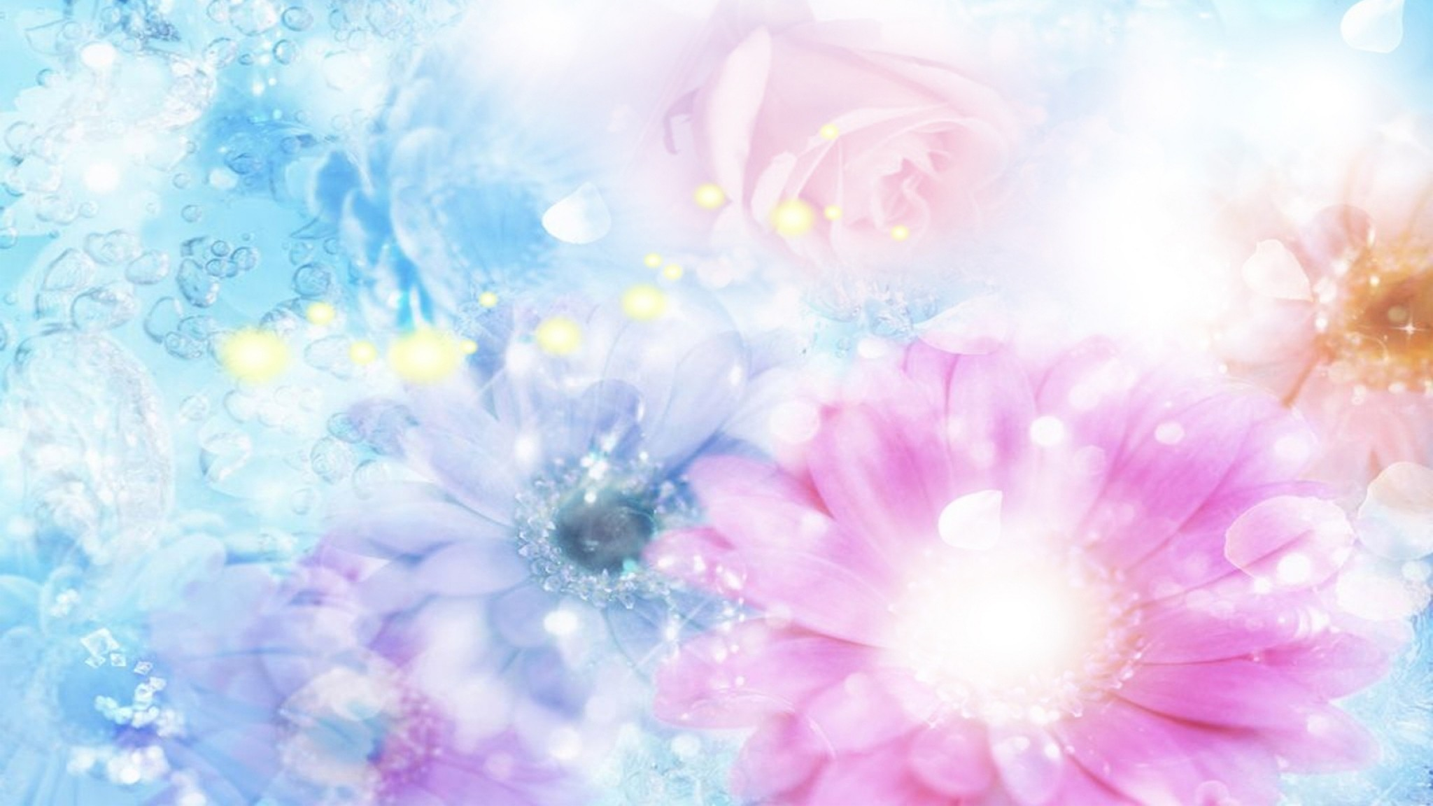 2048x1152 Preview wallpaper pink, blue, flowers, blurred, background, effects