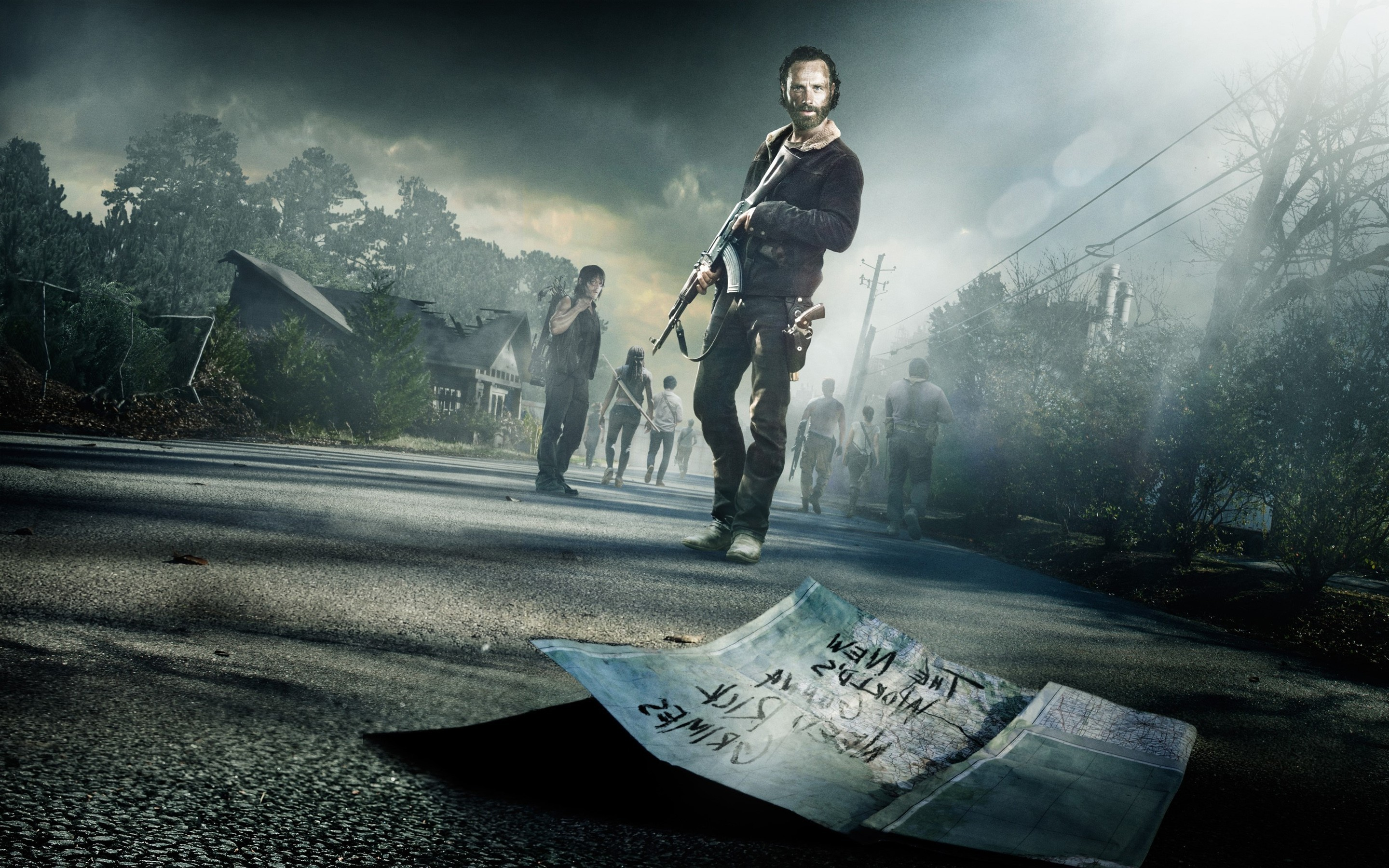 2880x1800 1080x1920 Movies The Walking Dead Rick Grimes Yellow Series Poster Zombies  Horror Action AMC City Skyline Road Highway HD iPhone 6 plus Wallpaper