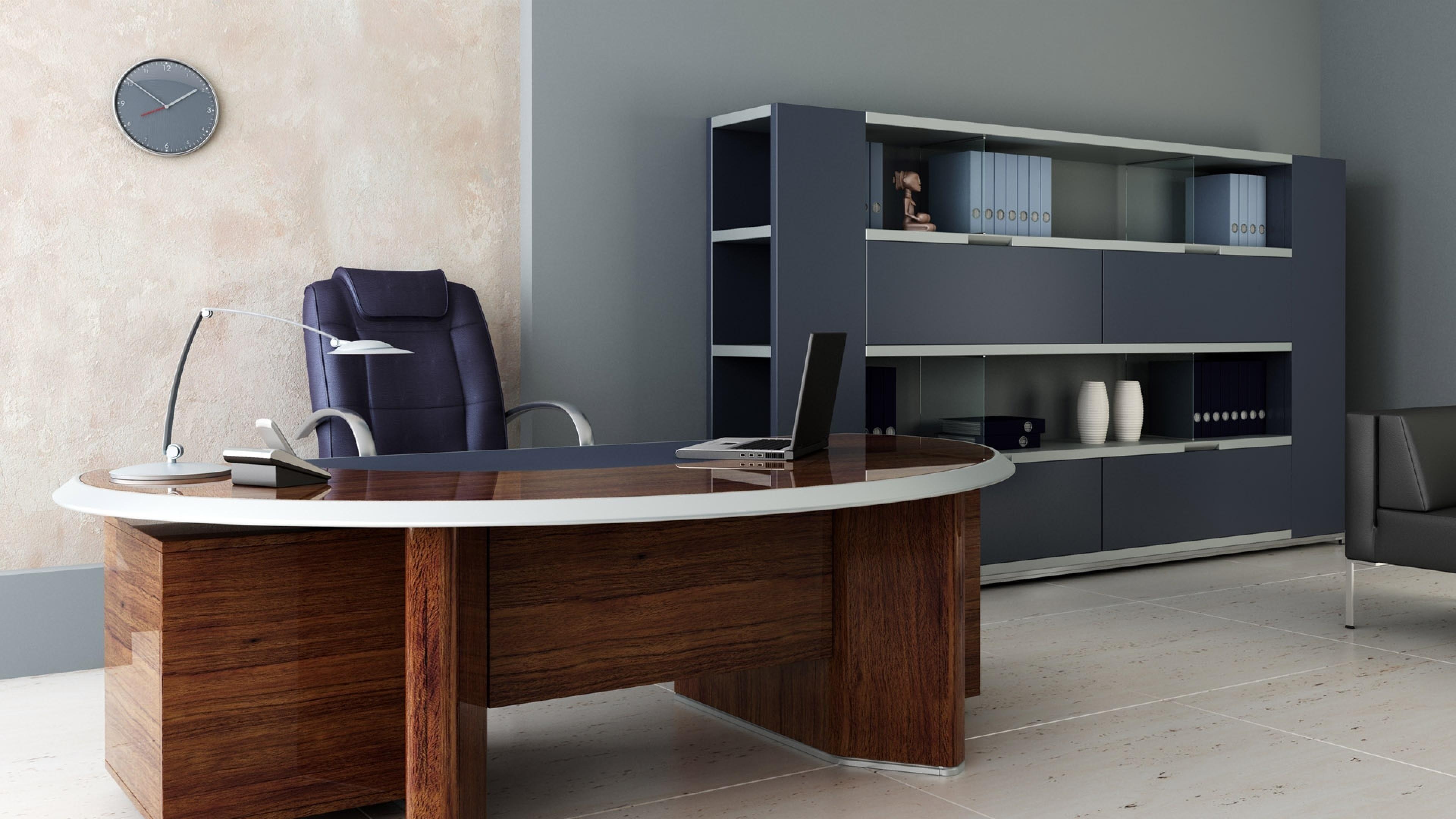 3840x2160 3840x2160 Wallpaper Room, Office, Desk, Chair, Shelves