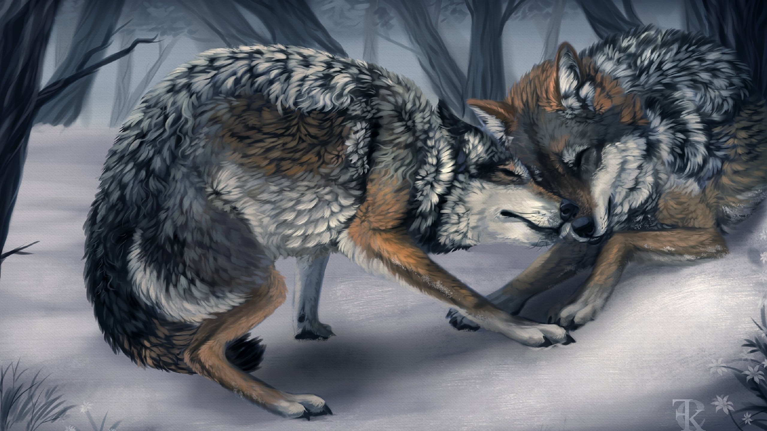 2560x1440 Painting, Animals, Wolves, Wolf, Love, Wolves Love Painting