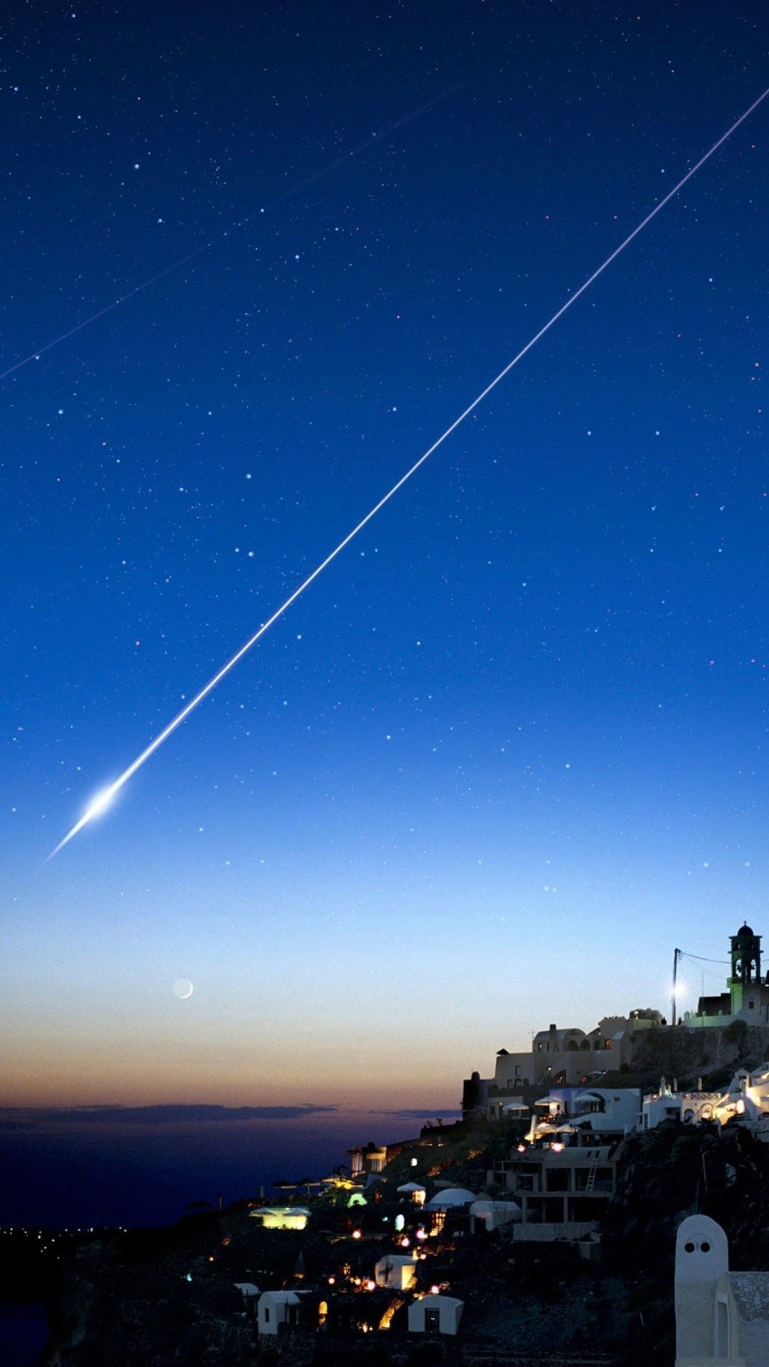 1080x1920 Shooting Star Over Cliff City iPhone 6 Plus HD Wallpaper ...