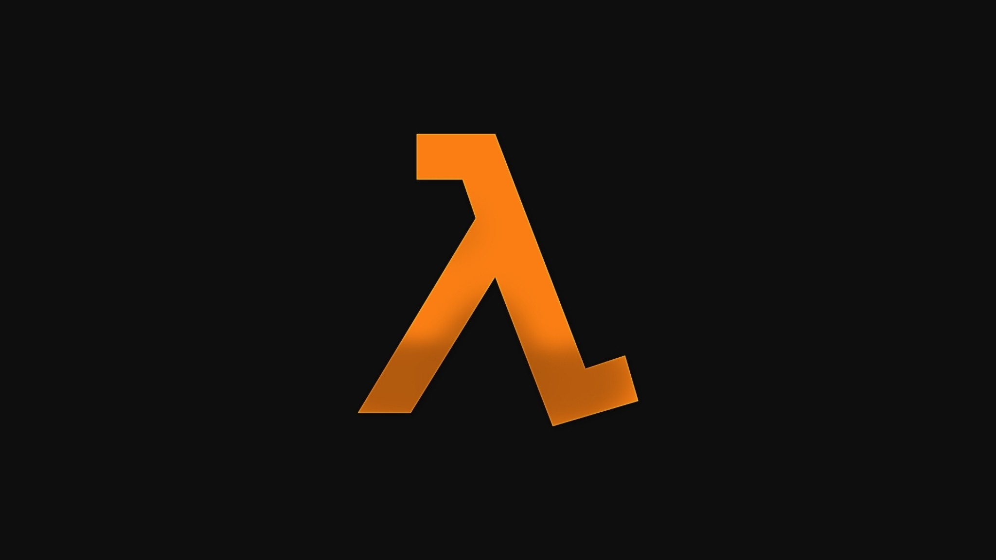 2048x1152 Preview wallpaper half-life, emblem, orange, background