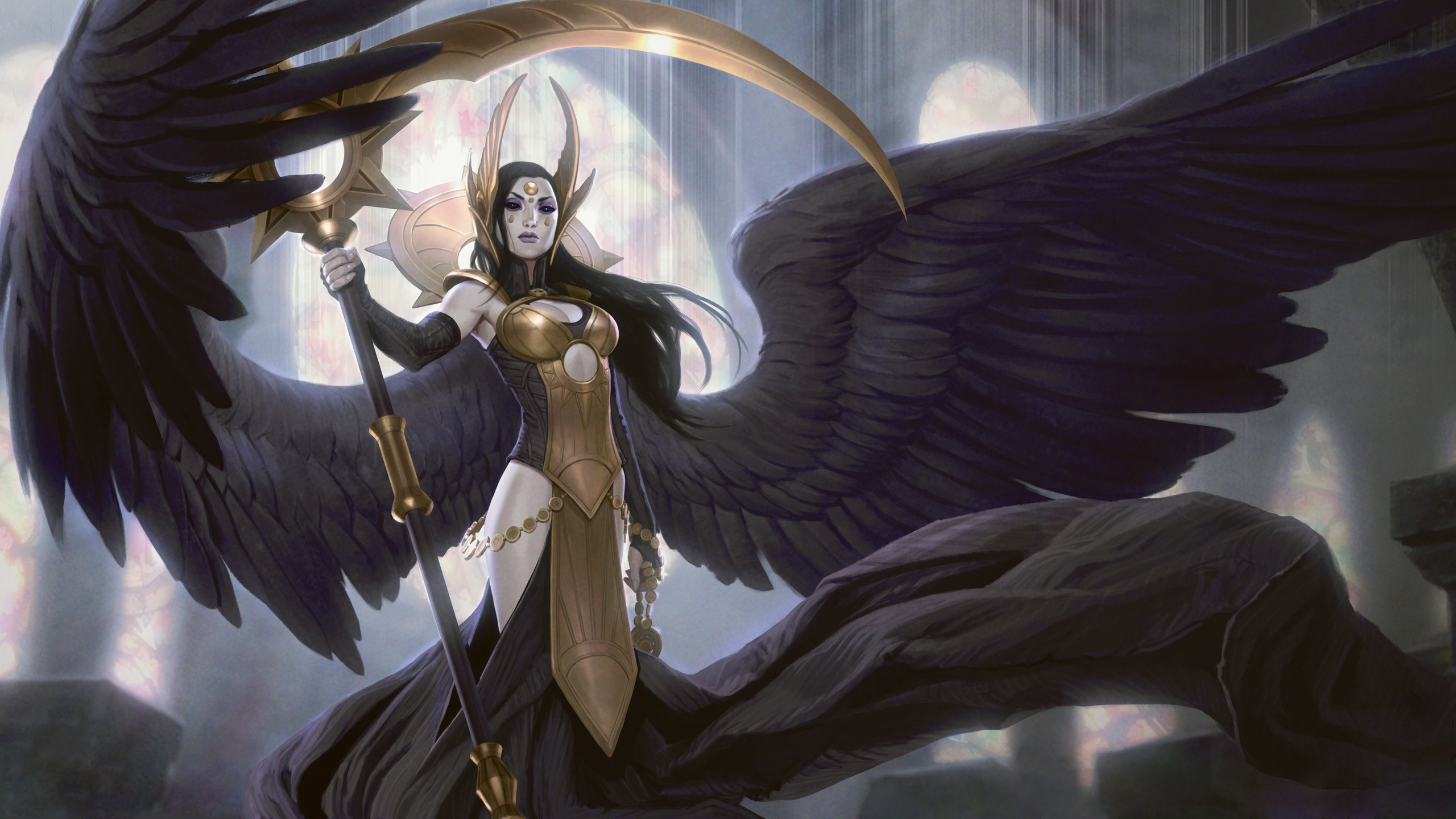 2560x1440 Angel Wings Artwork Card Game Fantasy Scythe Women
