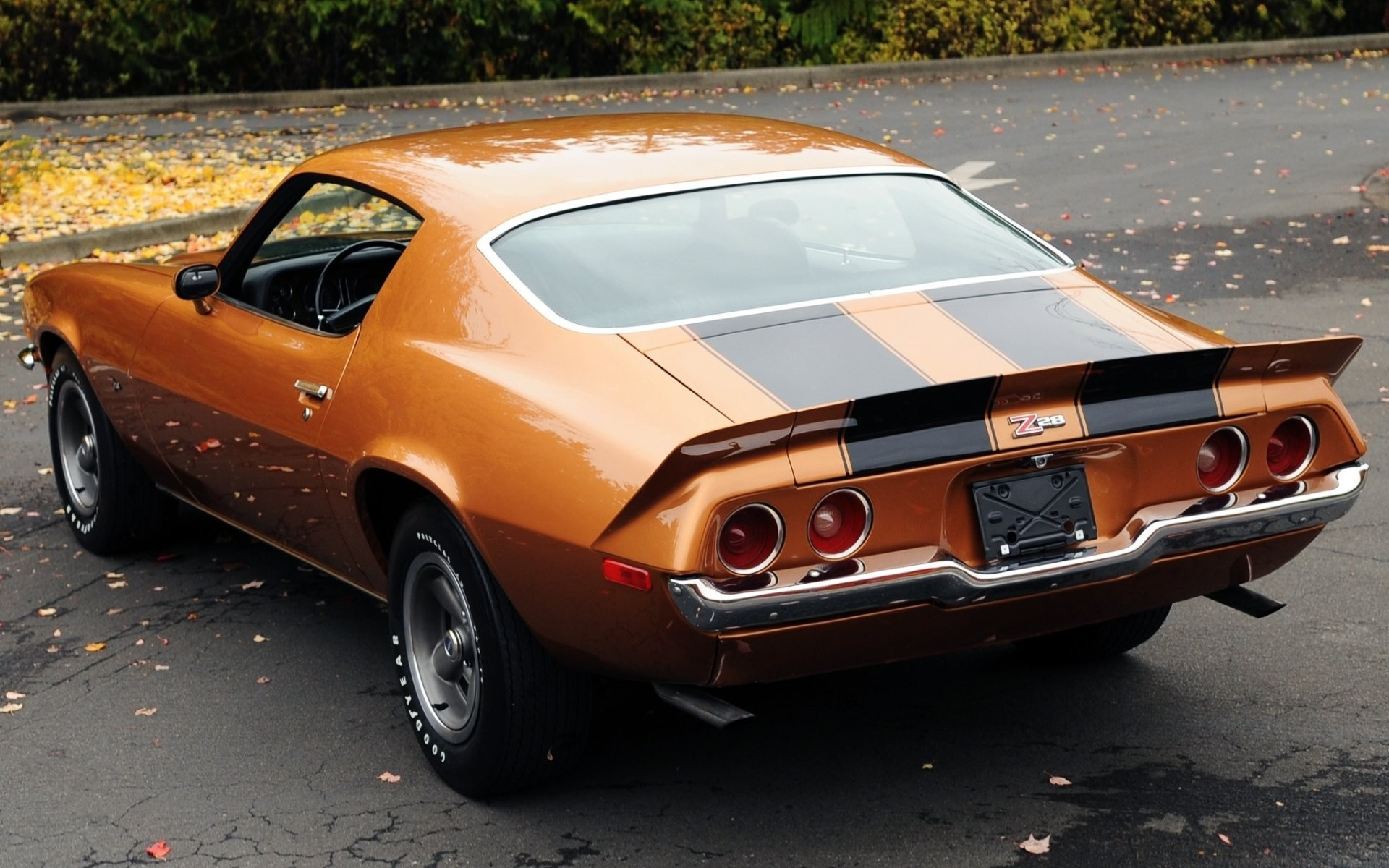 1920x1200 chevrolet camaro z28 1971 chevrolet camaro coupe rear view orange muscle  car muscle car leaves background