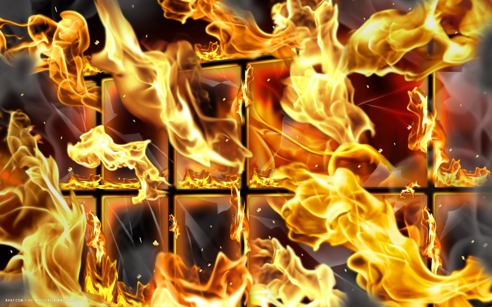 1920x1200 3d flames abstract grid cage window fire hd widescreen wallpaper