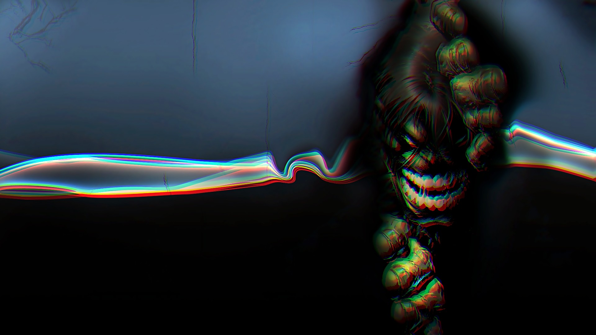 1920x1080 Preview wallpaper hulk, 3d, anaglyph, graphics, bright