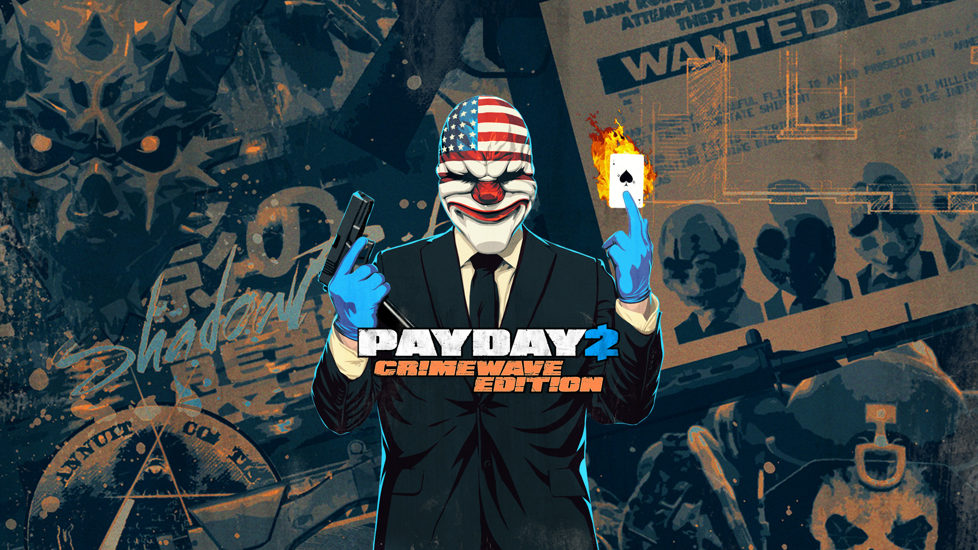 1920x1080 payday: the heist hoxton mask colt m1911 gun weapon money bank robbery overkill software video