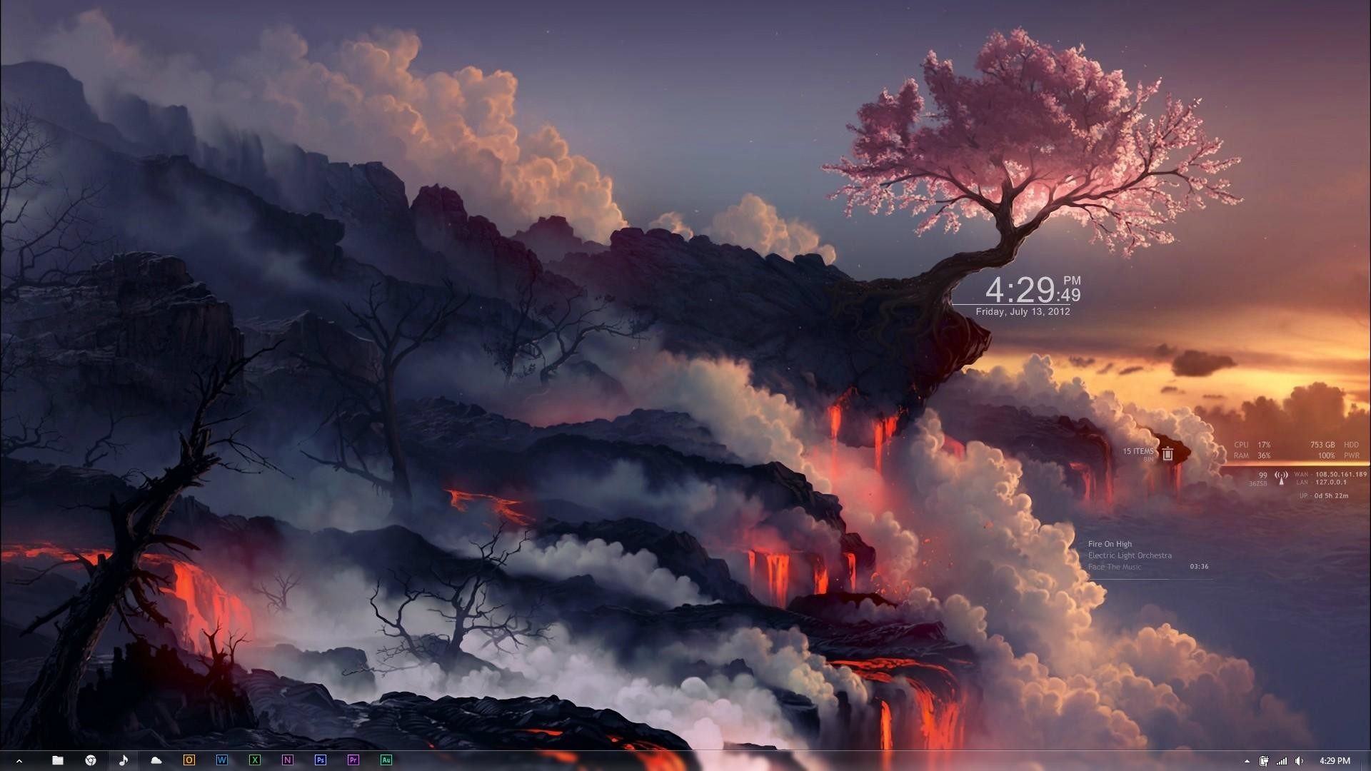 1920x1080 That feeling when the skins, wallpaper, and theme all work together  harmoniously - Cherry Blossom ...