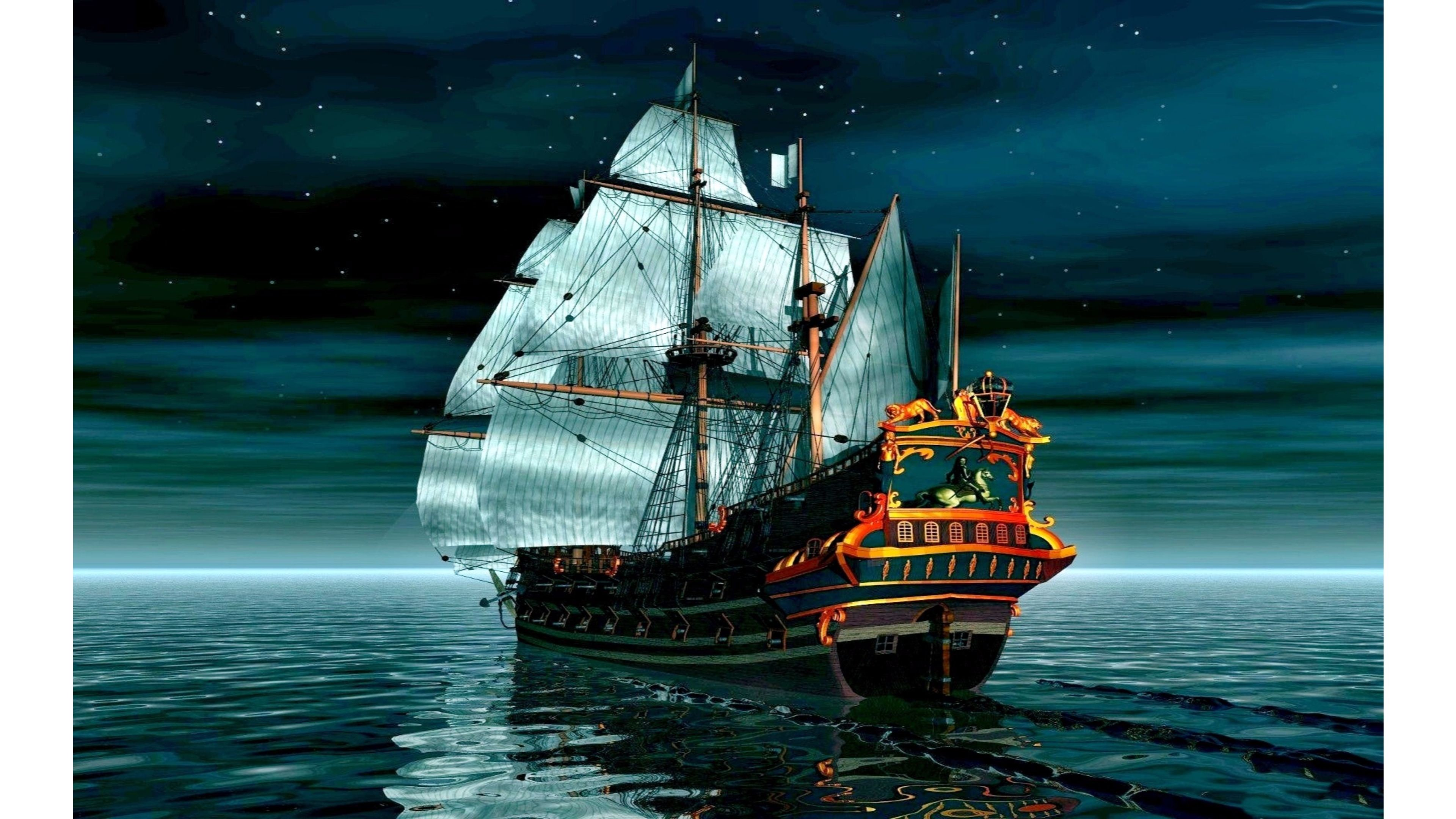 3840x2160 Pirate ship closing to the shore wallpaper Fantasy wallpapers