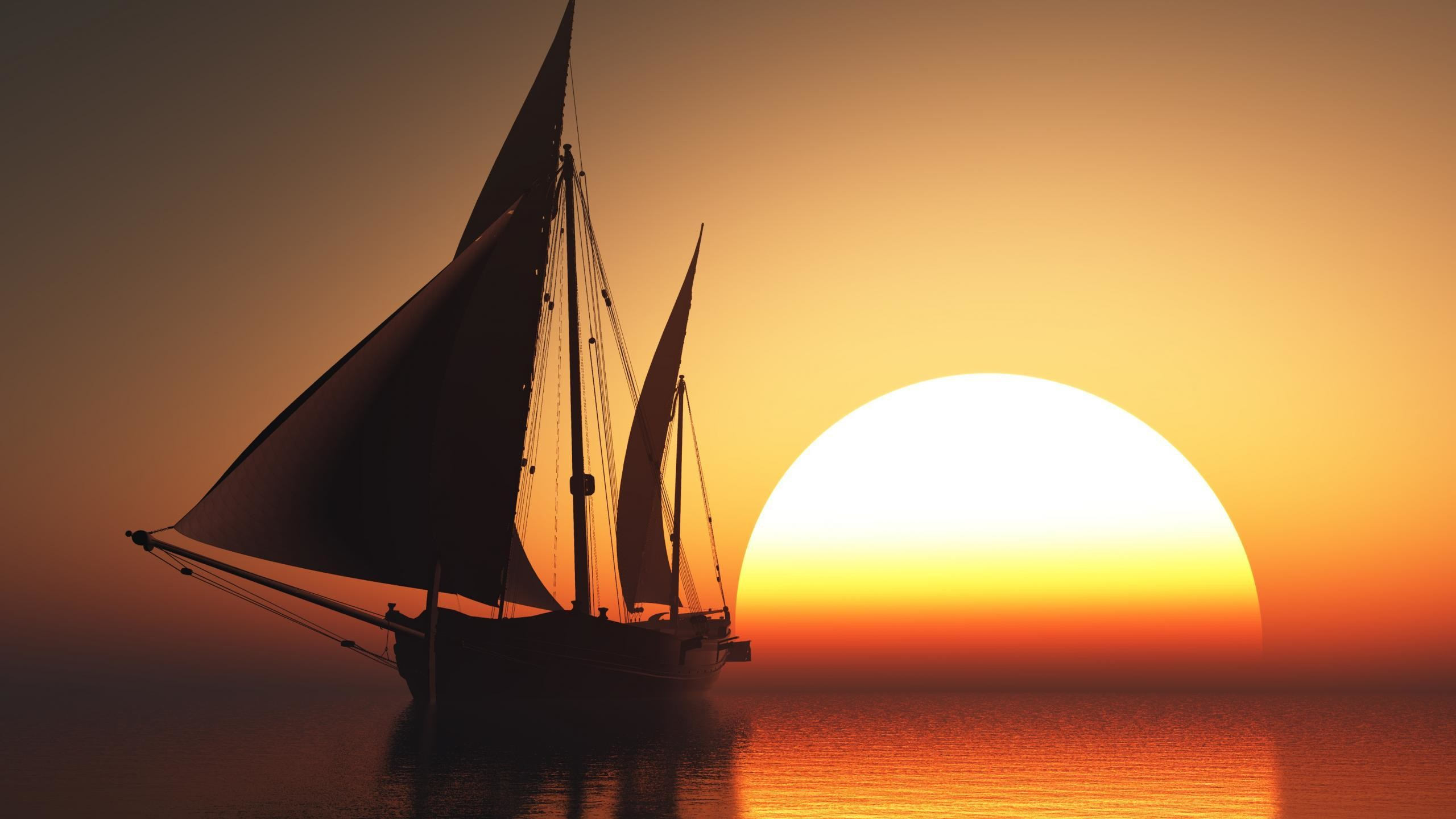 2560x1440 Sunrise Sea Ocean Sunset Sailboat Wallpapers
