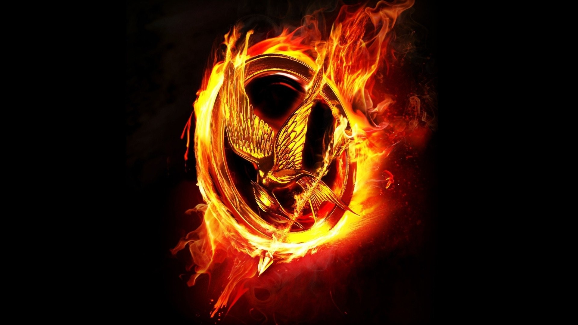 1920x1080 Movie - The Hunger Games Black Fire Flame Mockingjay Wallpaper