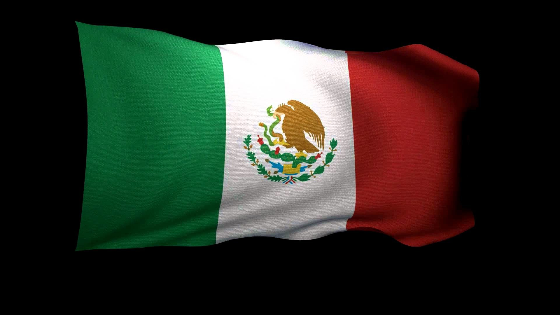 1920x1080 3D Rendering of the flag of Mexico waving in the wind .