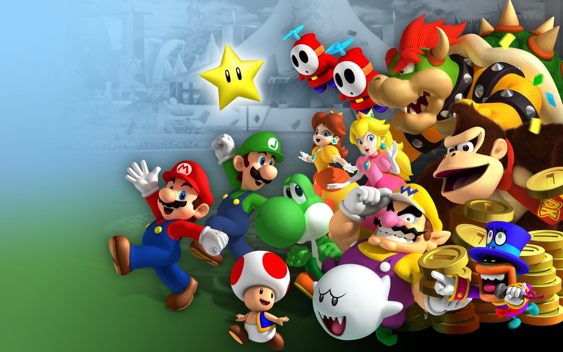 1920x1200 Mario Bros., Luigi, Princess Peach, Yoshi, Wario, Donkey Kong, Toad  (character), Video Games, Nintendo, Mario Kart 8 Wallpapers HD / Desktop  and Mobile ...