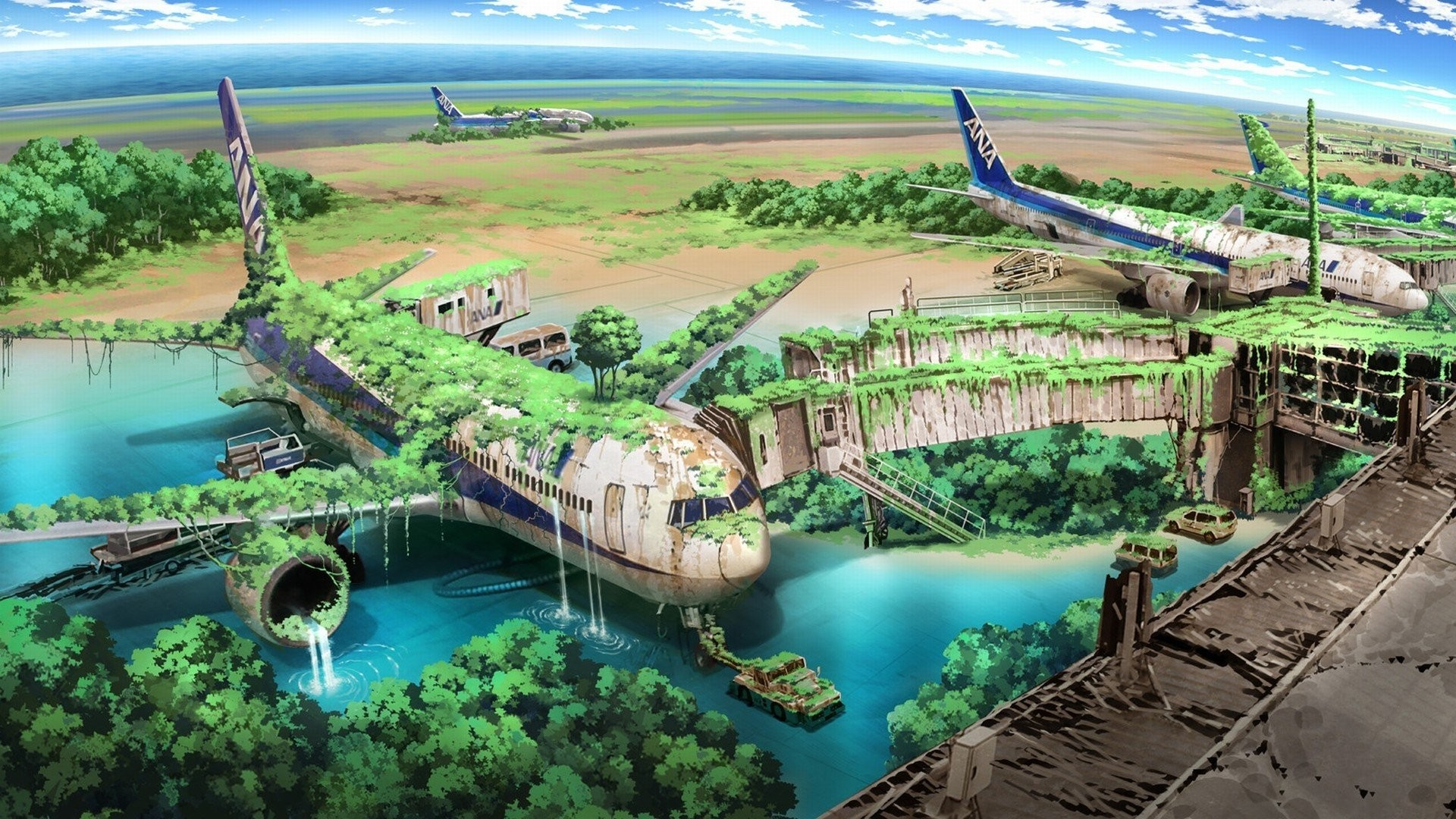 1920x1080 Apocalyptic Planes Nature Anime Aircraft Drawings