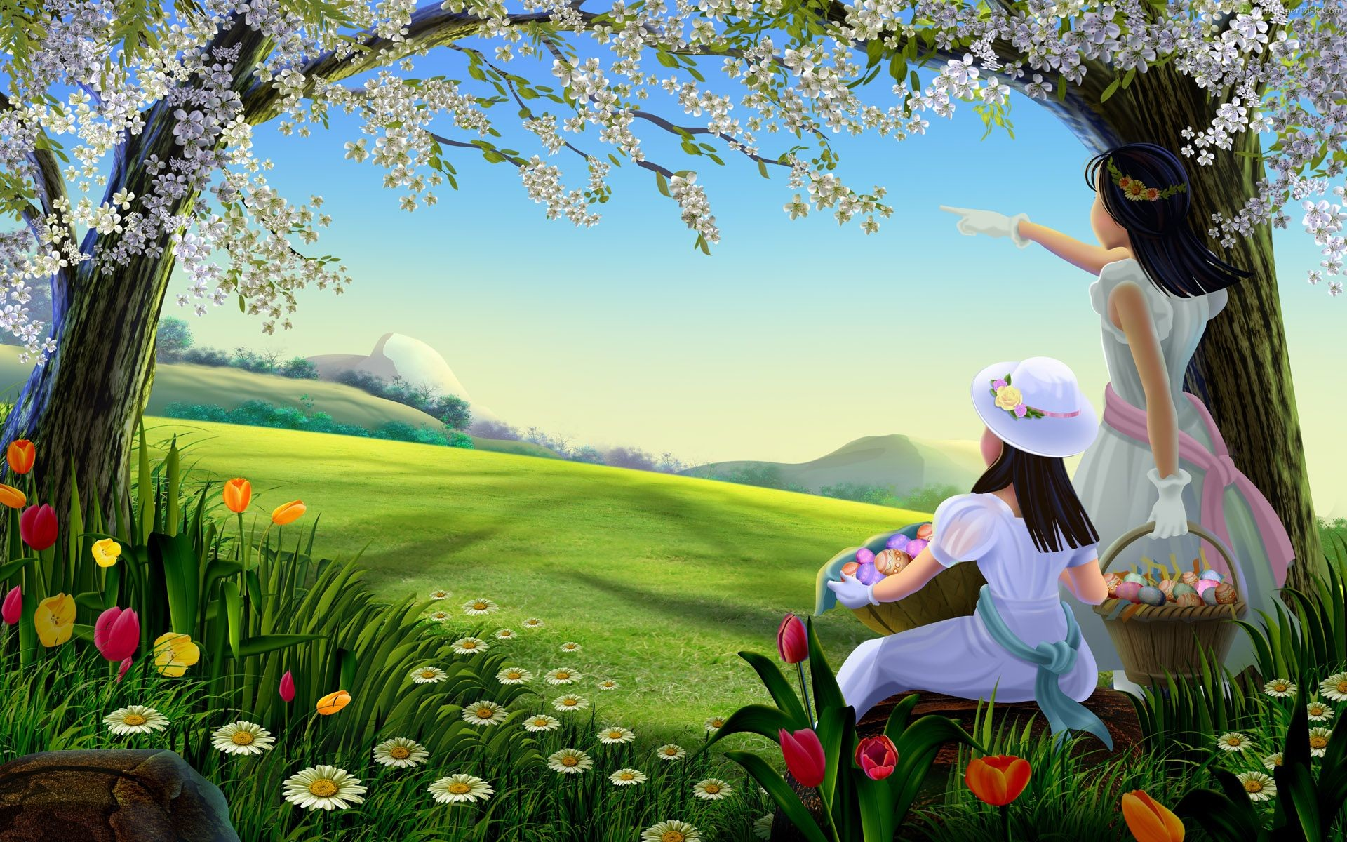 1920x1200 Best easter lady spring desktop wallpapers background collection
