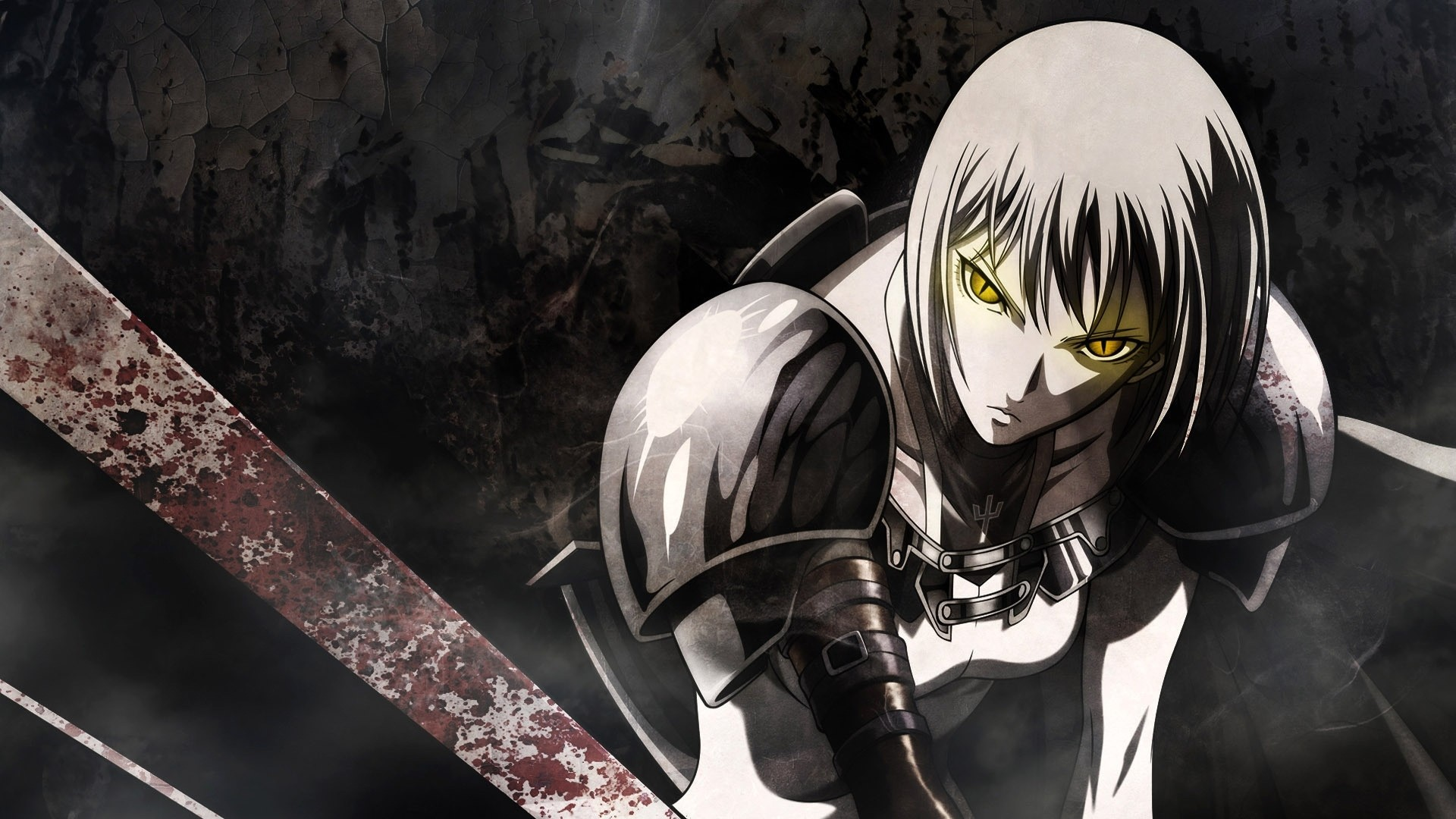 1920x1080 Preview wallpaper anime, sword, warrior, look, blood
