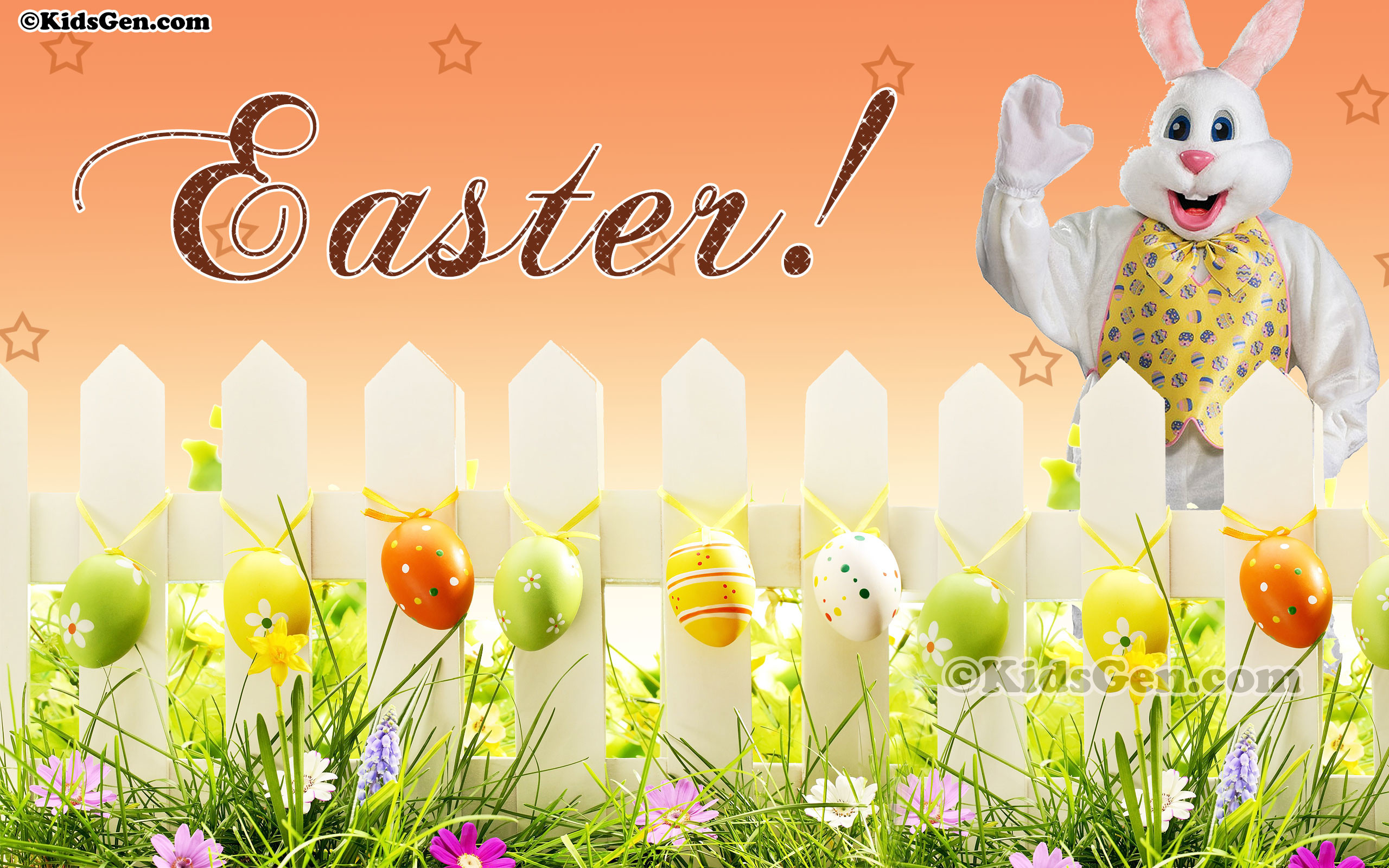 2560x1600 Wallpaper of Easter Bunny and eggs