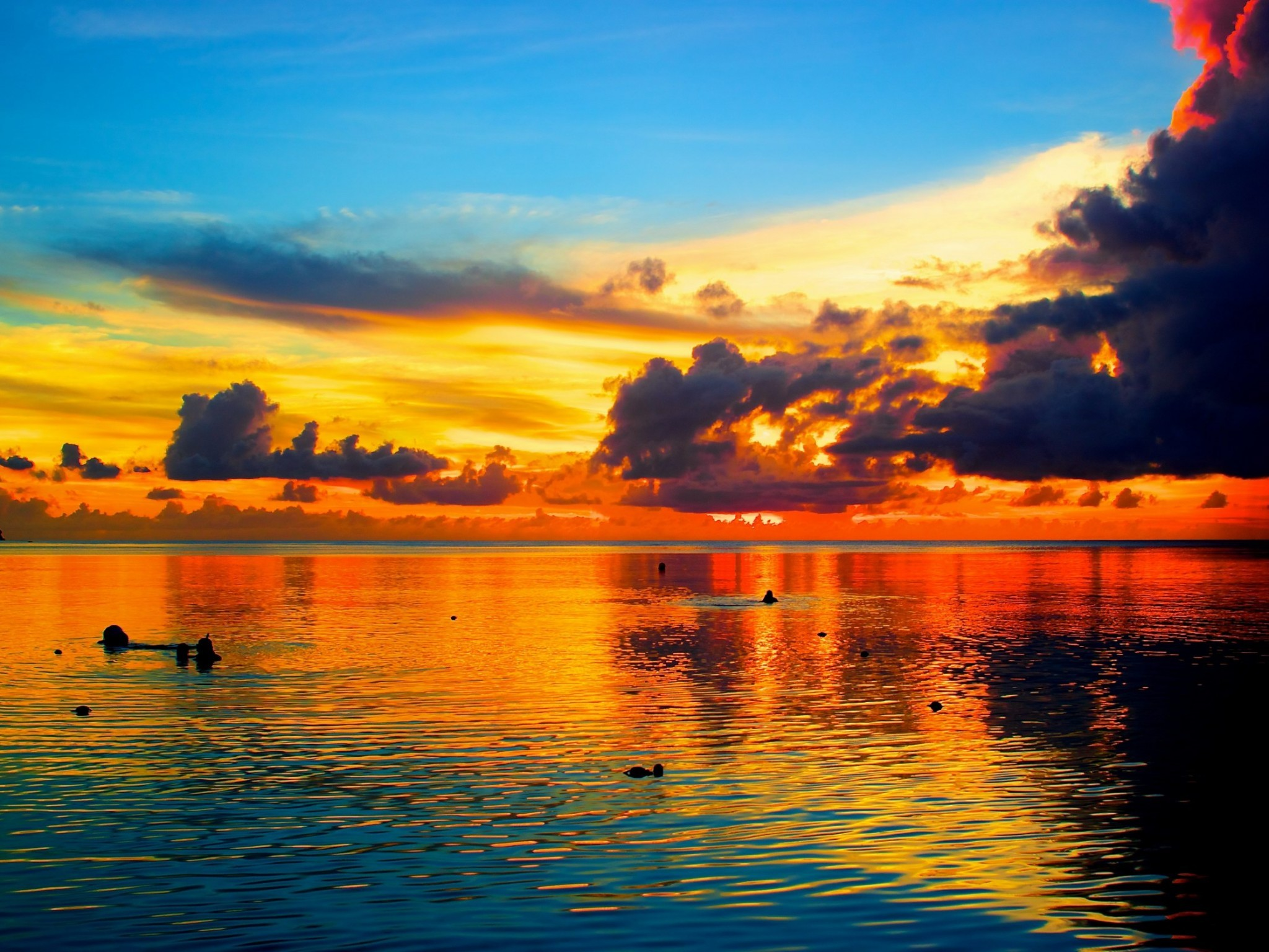 2048x1536 Ocean Sunset Palm Trees | Sea Sunset Palm Tree Guam hd Wallpaper
