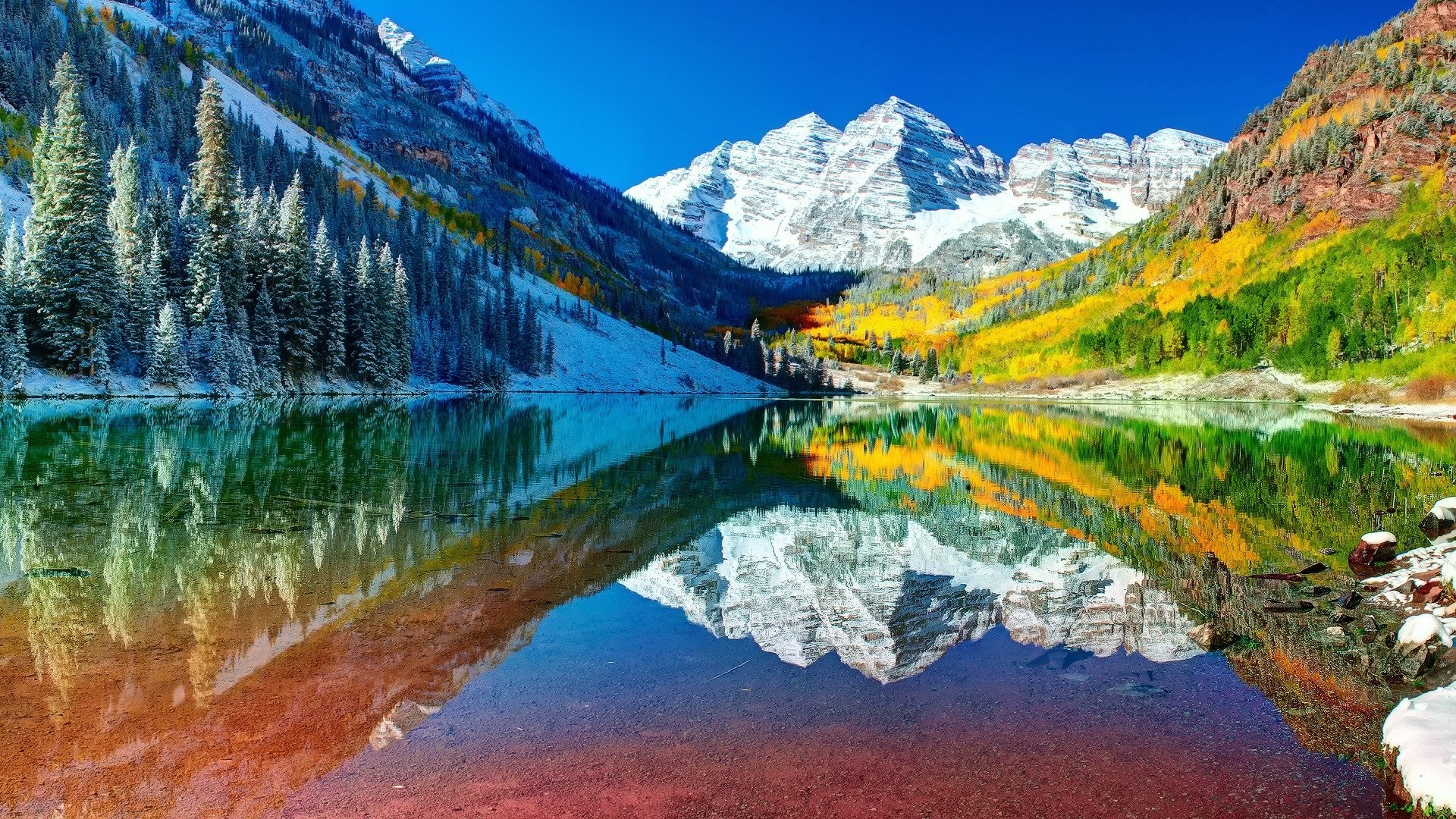 1920x1080 united states colorado mountain lake autumn sky forest snow water reflection