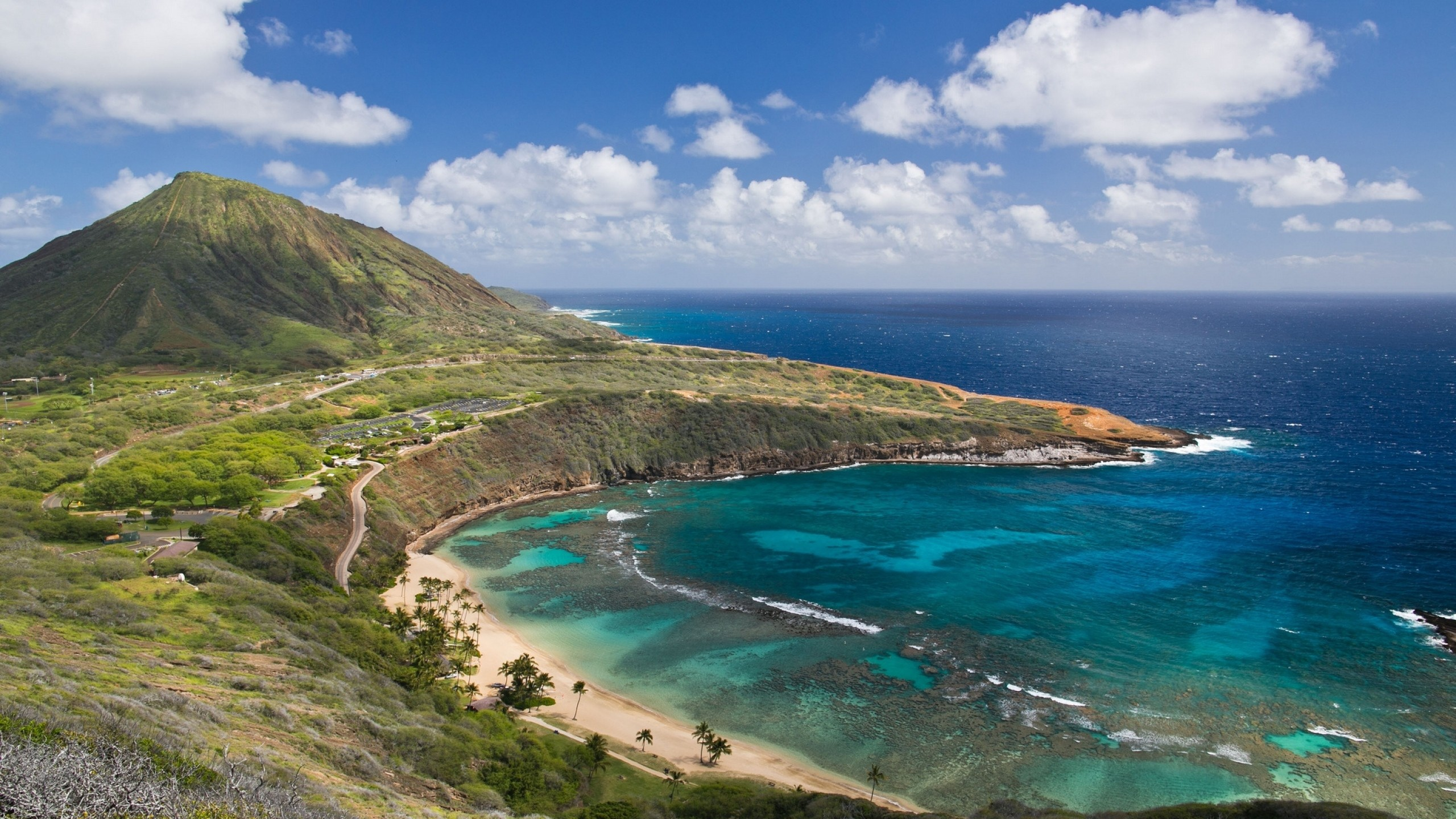 2560x1440 Preview wallpaper hanauma bay, oahu island, hawai, oahu, hawaii, mountain,