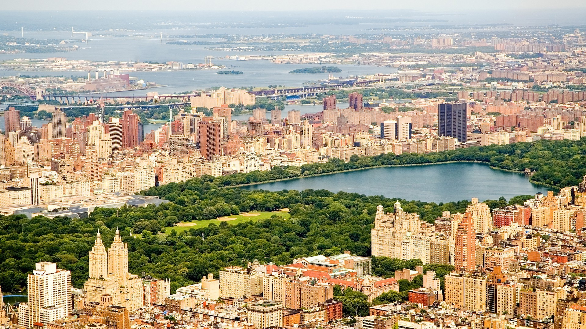 1920x1080 cityscape, Architecture, Building, City, New York City, USA, Water, Central  Park, Trees, Lake, Sea, Bridge, Skyscraper, Birds Eye View Wallpapers HD ...