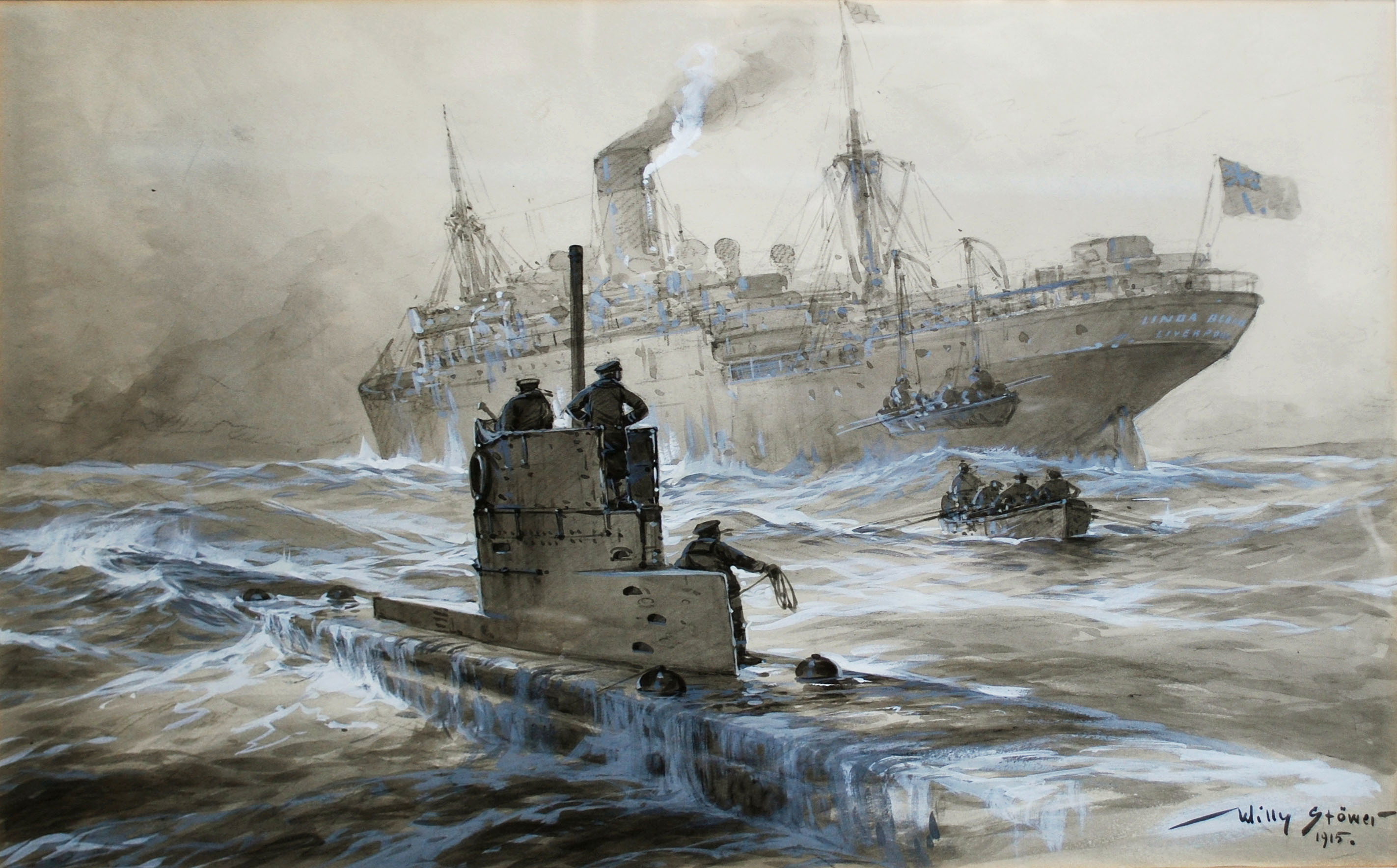 2845x1768 File:Willy Stöwer - Sinking of the Linda Blanche out of Liverpool.jpg