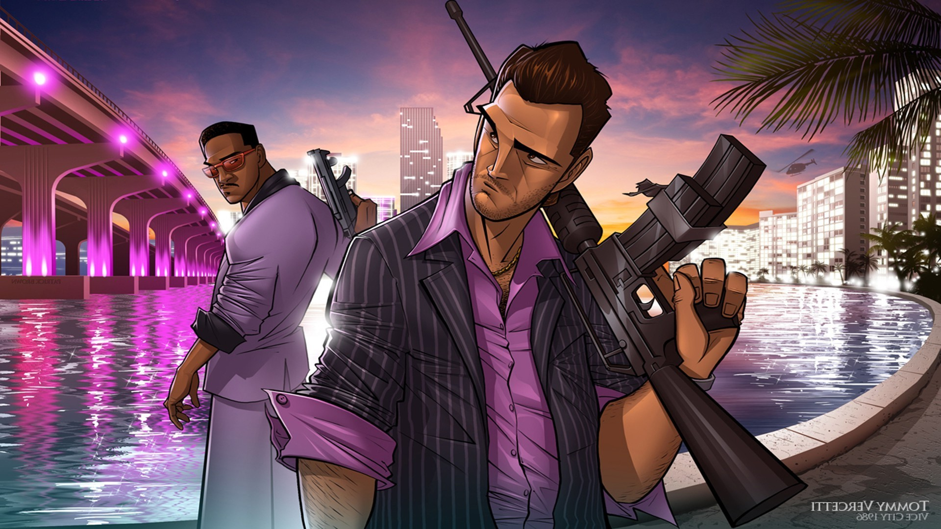 1920x1080 Grand Theft Auto Vice City, PC Gaming, Tommy Vercetti, Lance Vance  Wallpapers HD / Desktop and Mobile Backgrounds