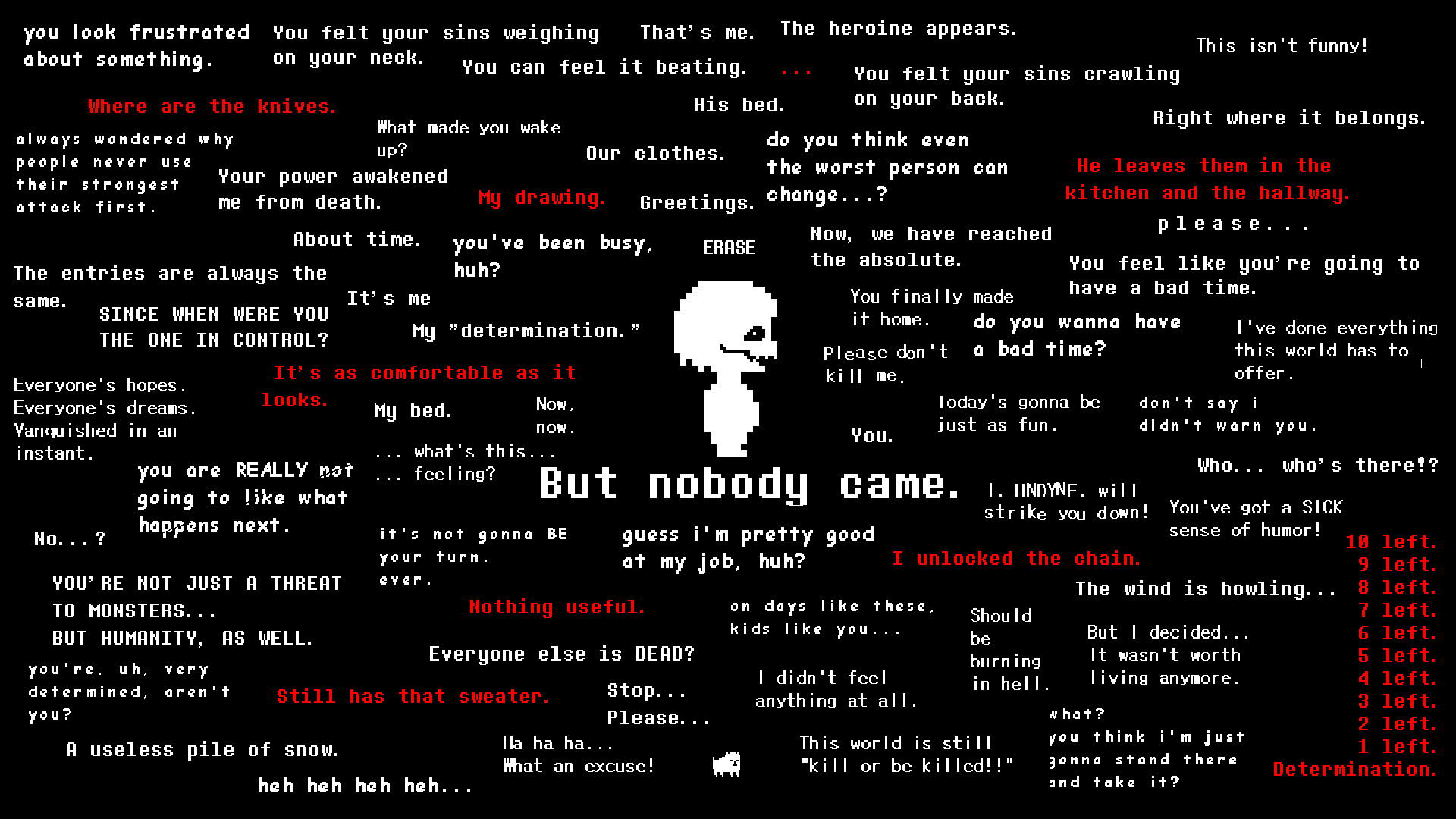 "1920x1080 Undertale Genocide Wallpaper - ""But Nobody Came."""
