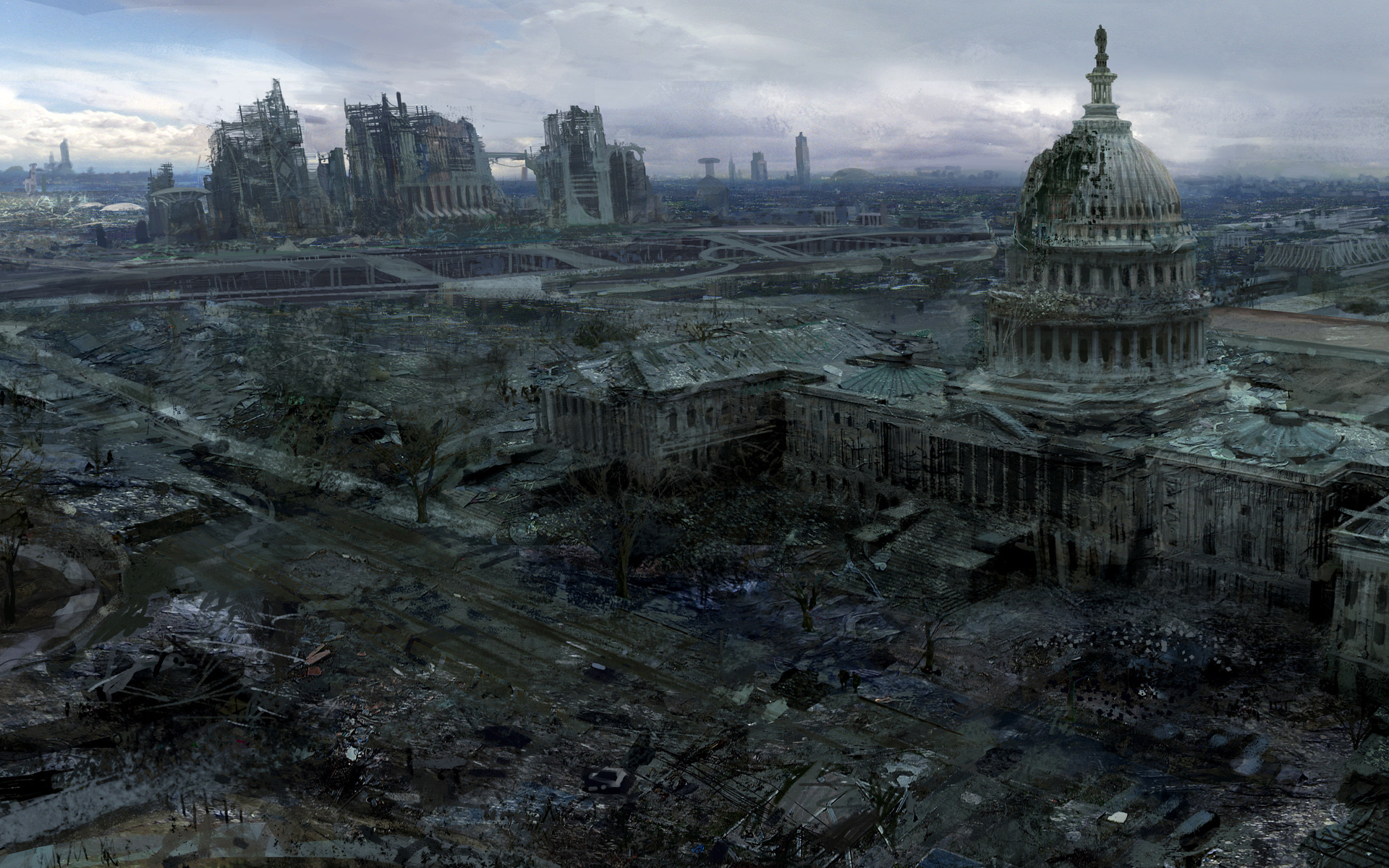 1920x1200 Video Games Ruins Post apocalyptic Artwork Fallout 3 Wallpaper At 3d  Wallpapers