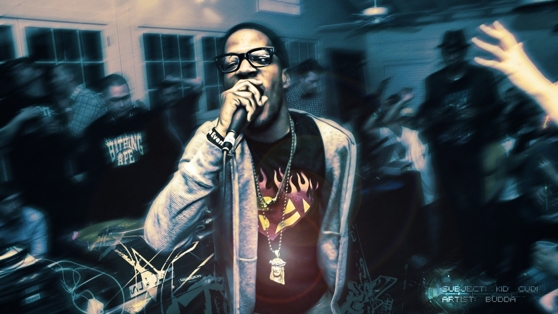 1920x1080 Preview Wallpaper Kid Cudi Room Party Microphone Disco